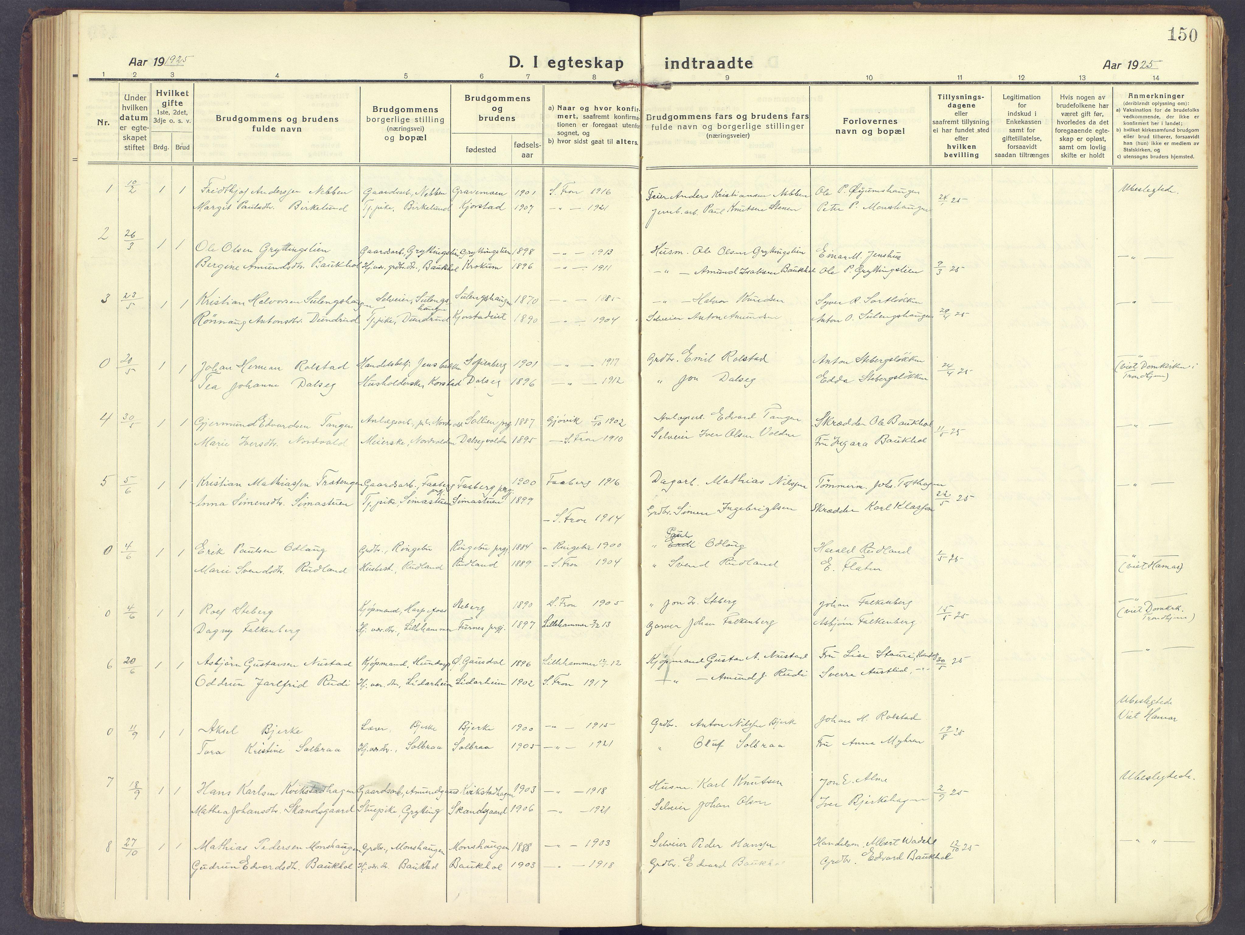 SAH, Sør-Fron prestekontor, H/Ha/Haa/L0005: Ministerialbok nr. 5, 1920-1933, s. 150