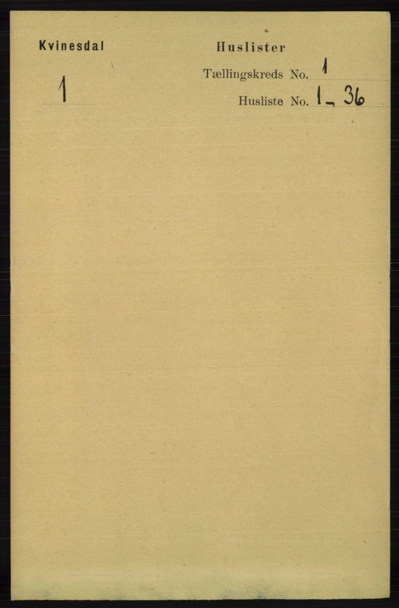 RA, Folketelling 1891 for 1037 Kvinesdal herred, 1891, s. 35