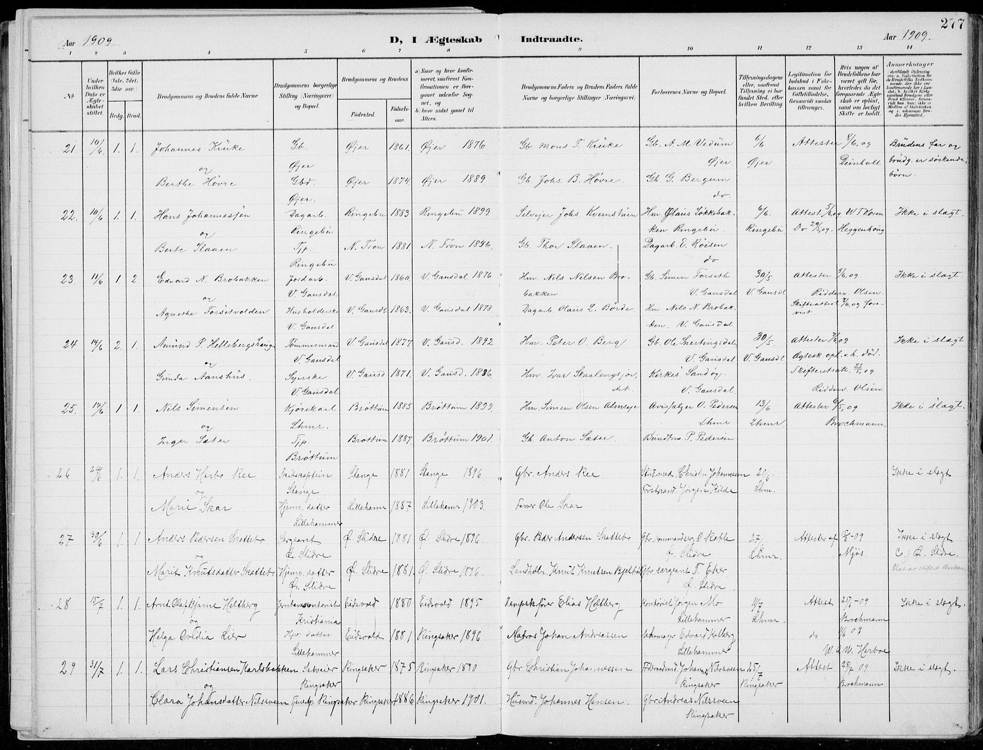 SAH, Lillehammer prestekontor, Ministerialbok nr. 1, 1901-1916, s. 277