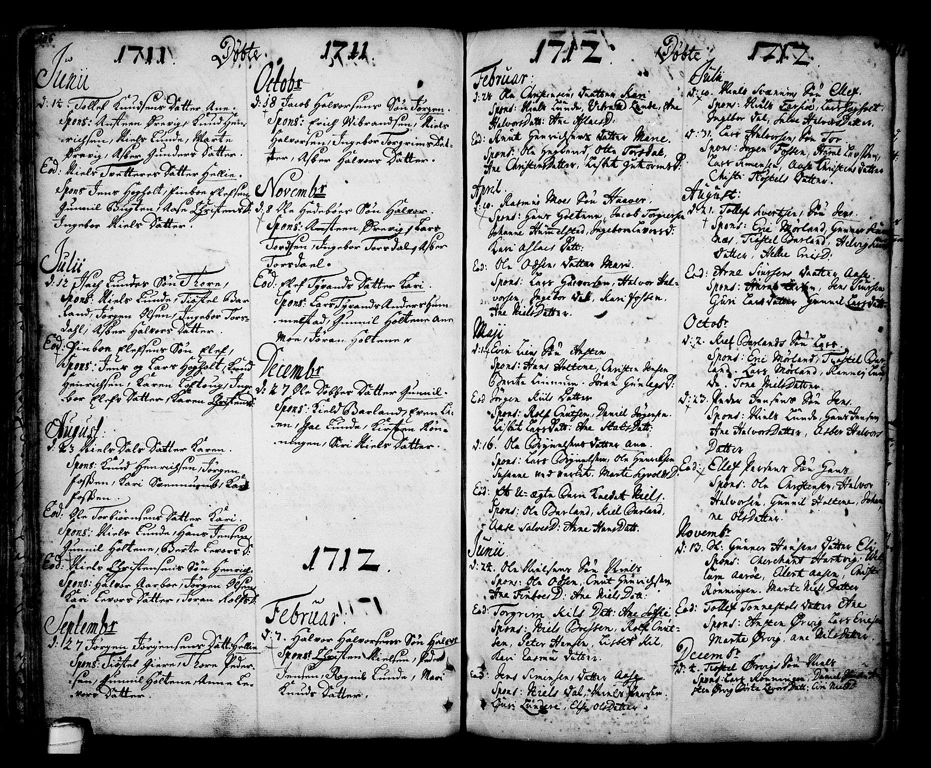 SAKO, Sannidal kirkebøker, F/Fa/L0001: Ministerialbok nr. 1, 1702-1766, s. 106-107