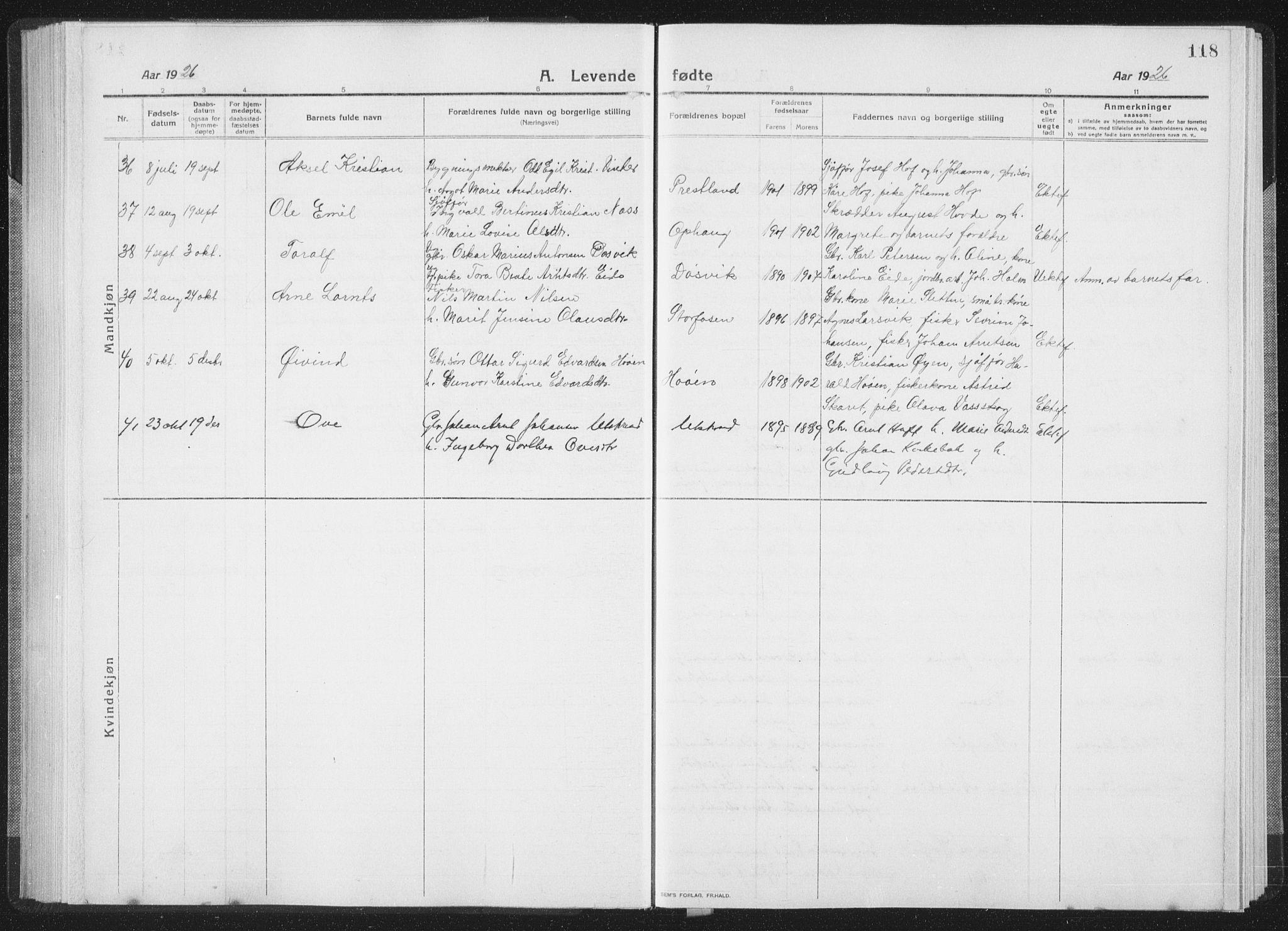 SAT, Ministerialprotokoller, klokkerbøker og fødselsregistre - Sør-Trøndelag, 659/L0747: Klokkerbok nr. 659C04, 1913-1938, s. 118