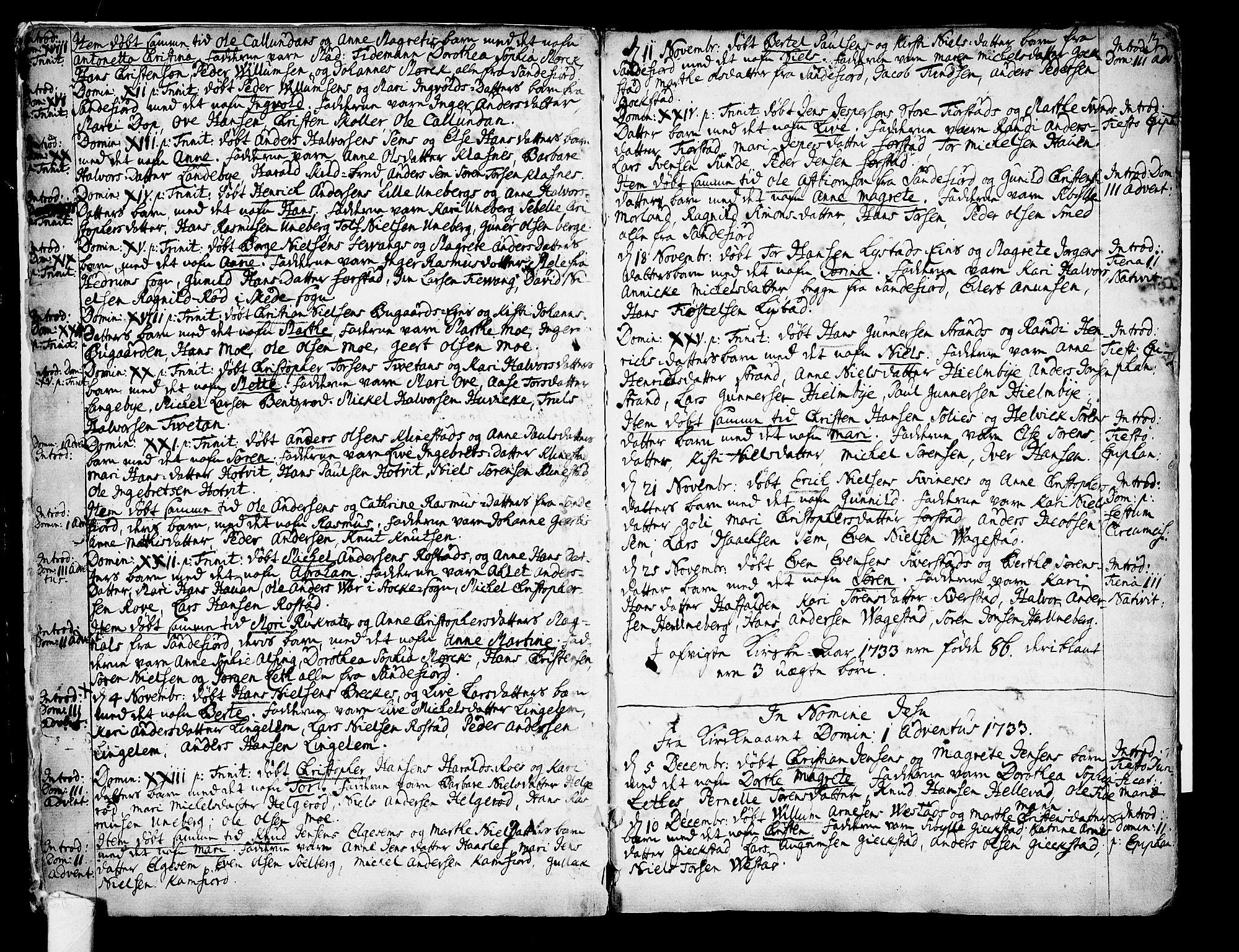 SAKO, Sandar kirkebøker, F/Fa/L0002: Ministerialbok nr. 2, 1733-1788, s. 3