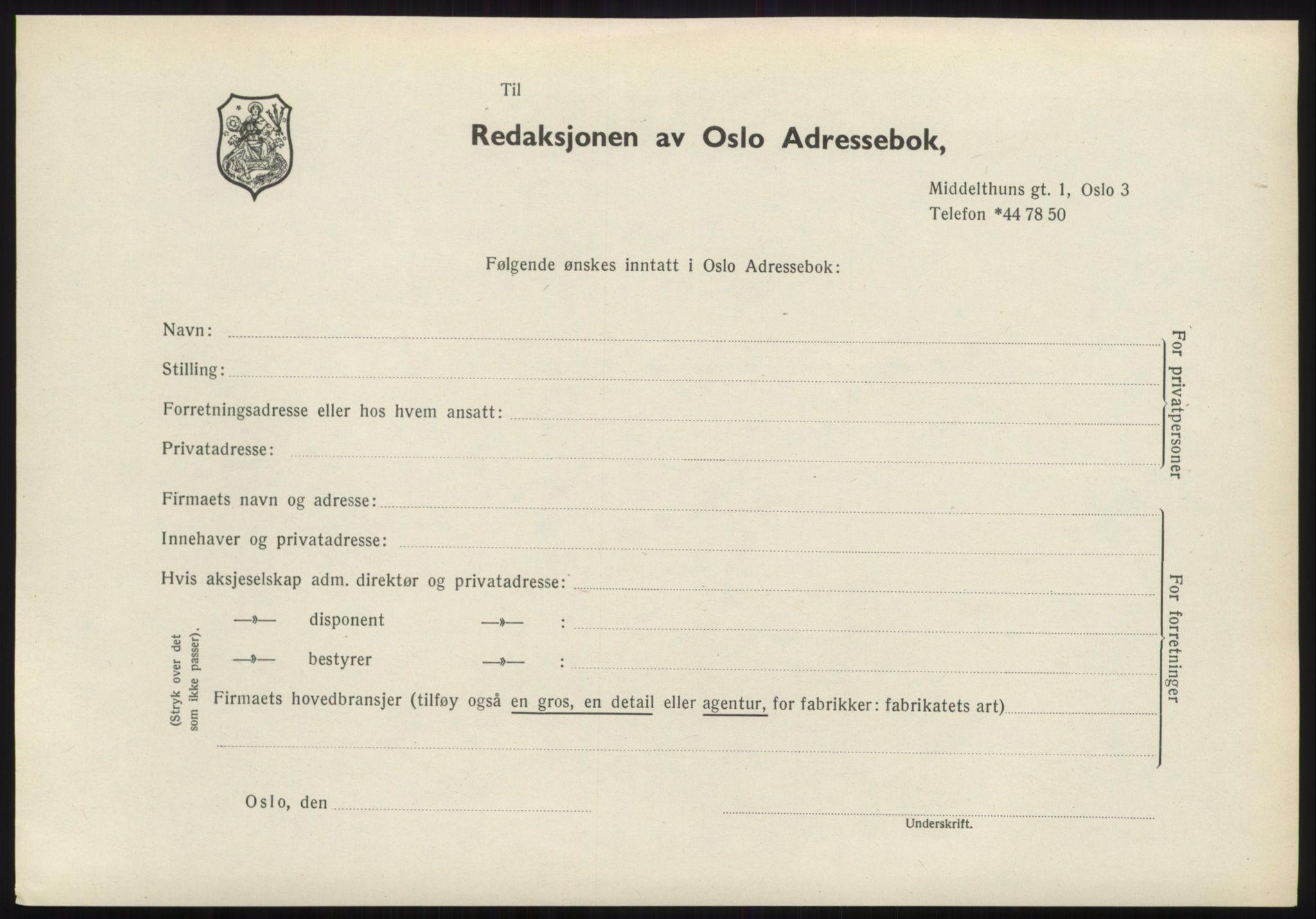RA, Oslo adressebok (publikasjon)*, 1970-1971, s. upaginert