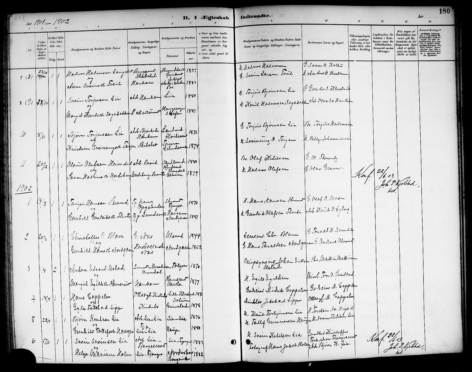 SAKO, Kviteseid kirkebøker, G/Ga/L0002: Klokkerbok nr. I 2, 1893-1918, s. 180