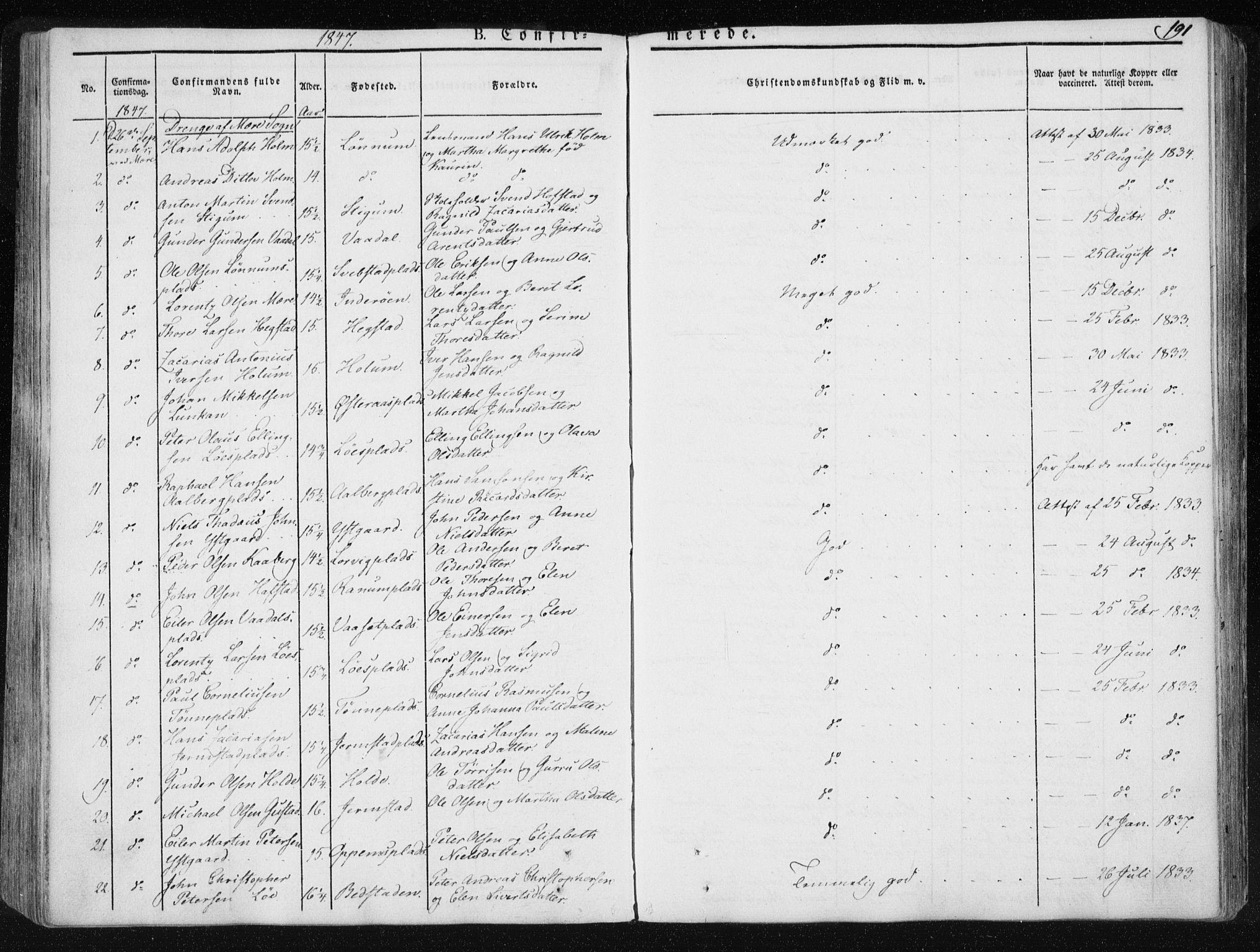 SAT, Ministerialprotokoller, klokkerbøker og fødselsregistre - Nord-Trøndelag, 735/L0339: Ministerialbok nr. 735A06 /1, 1836-1848, s. 191