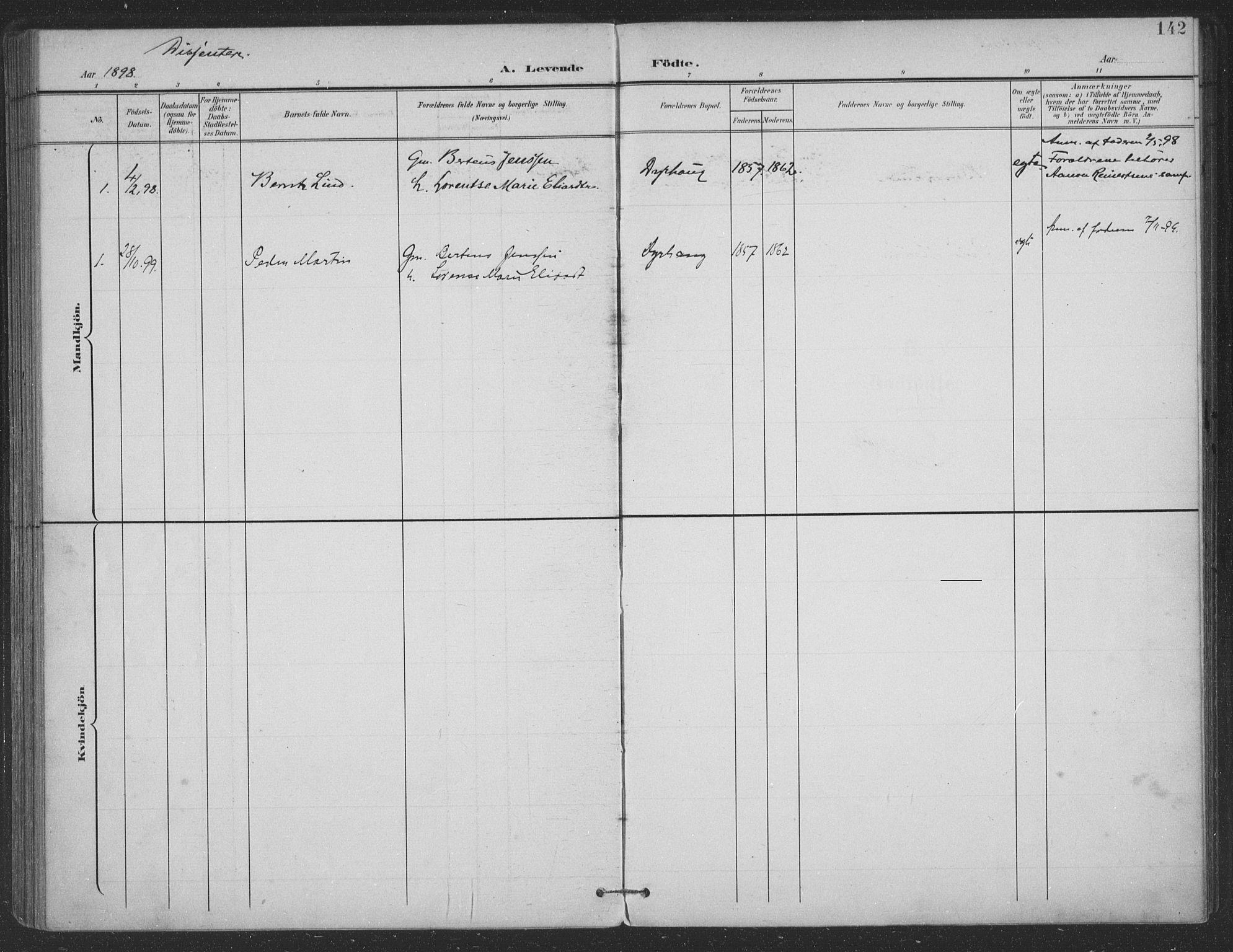 SAT, Ministerialprotokoller, klokkerbøker og fødselsregistre - Nordland, 863/L0899: Ministerialbok nr. 863A11, 1897-1906, s. 142