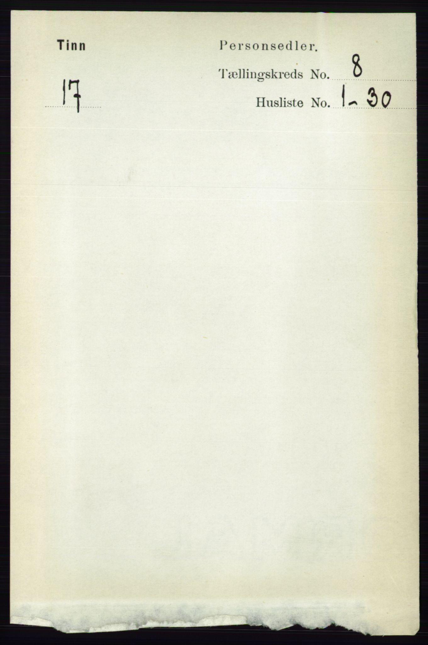 RA, Folketelling 1891 for 0826 Tinn herred, 1891, s. 1660