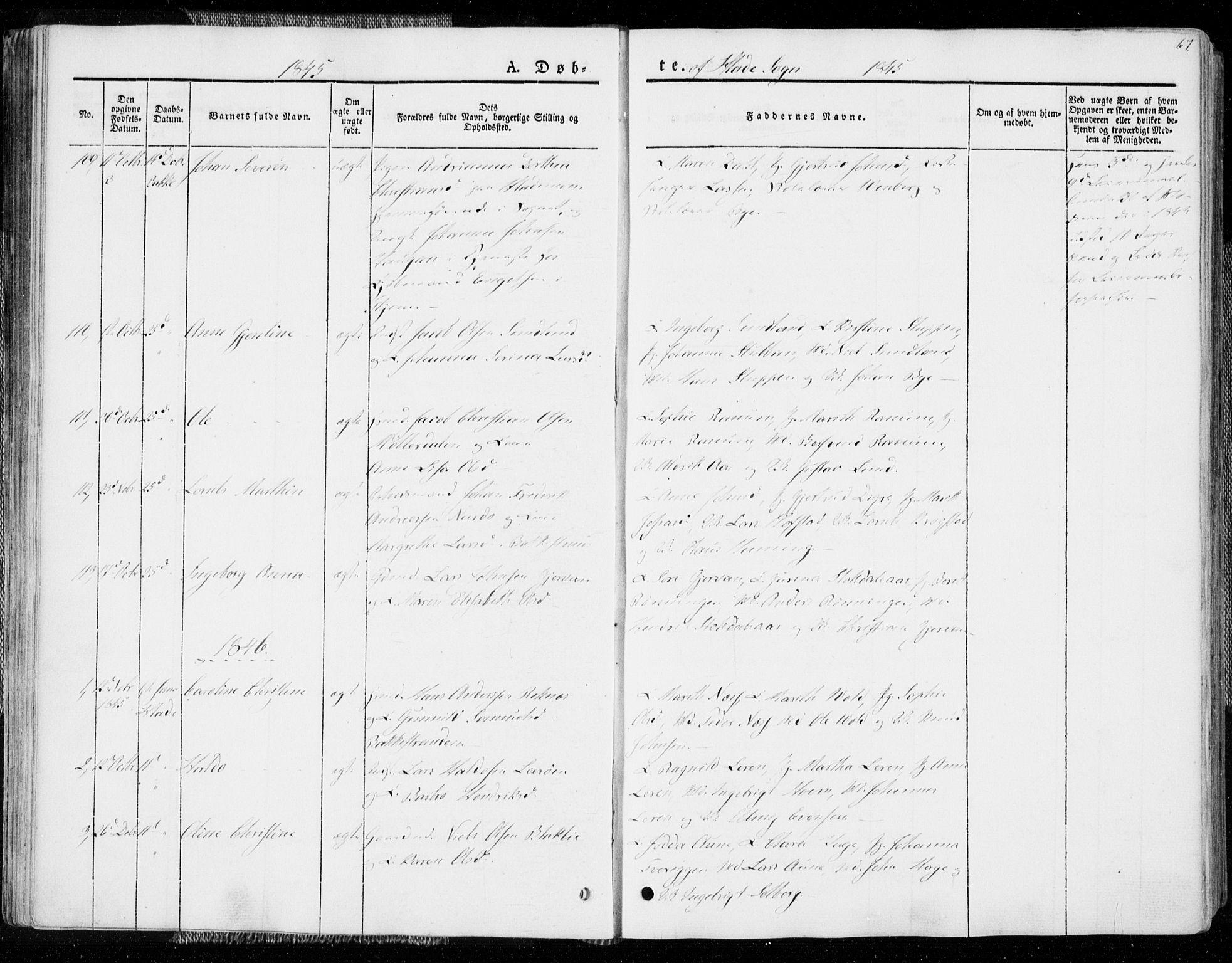 SAT, Ministerialprotokoller, klokkerbøker og fødselsregistre - Sør-Trøndelag, 606/L0290: Ministerialbok nr. 606A05, 1841-1847, s. 67