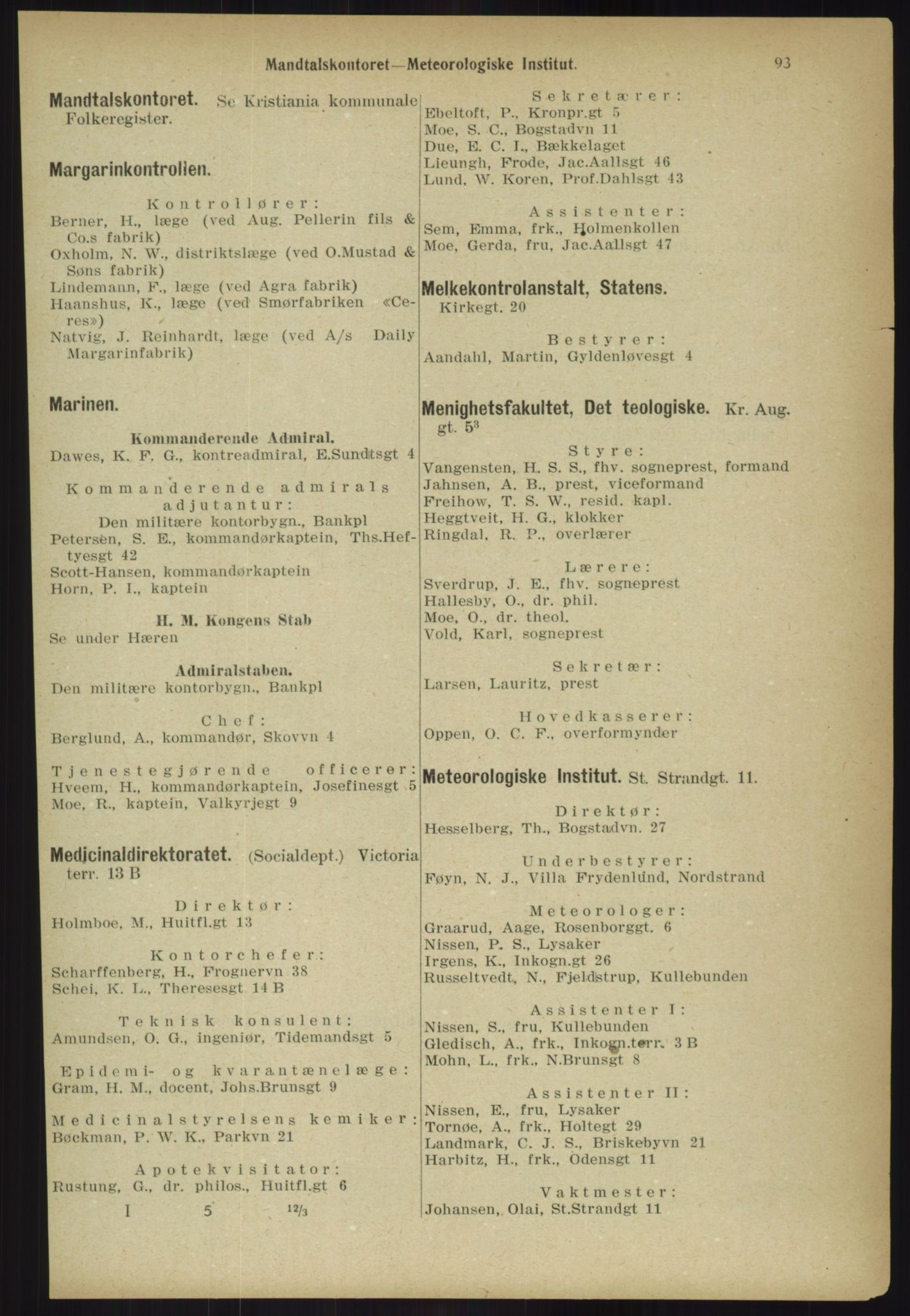 RA, Kristiania adressebok (publikasjon)*, 1918, s. 93