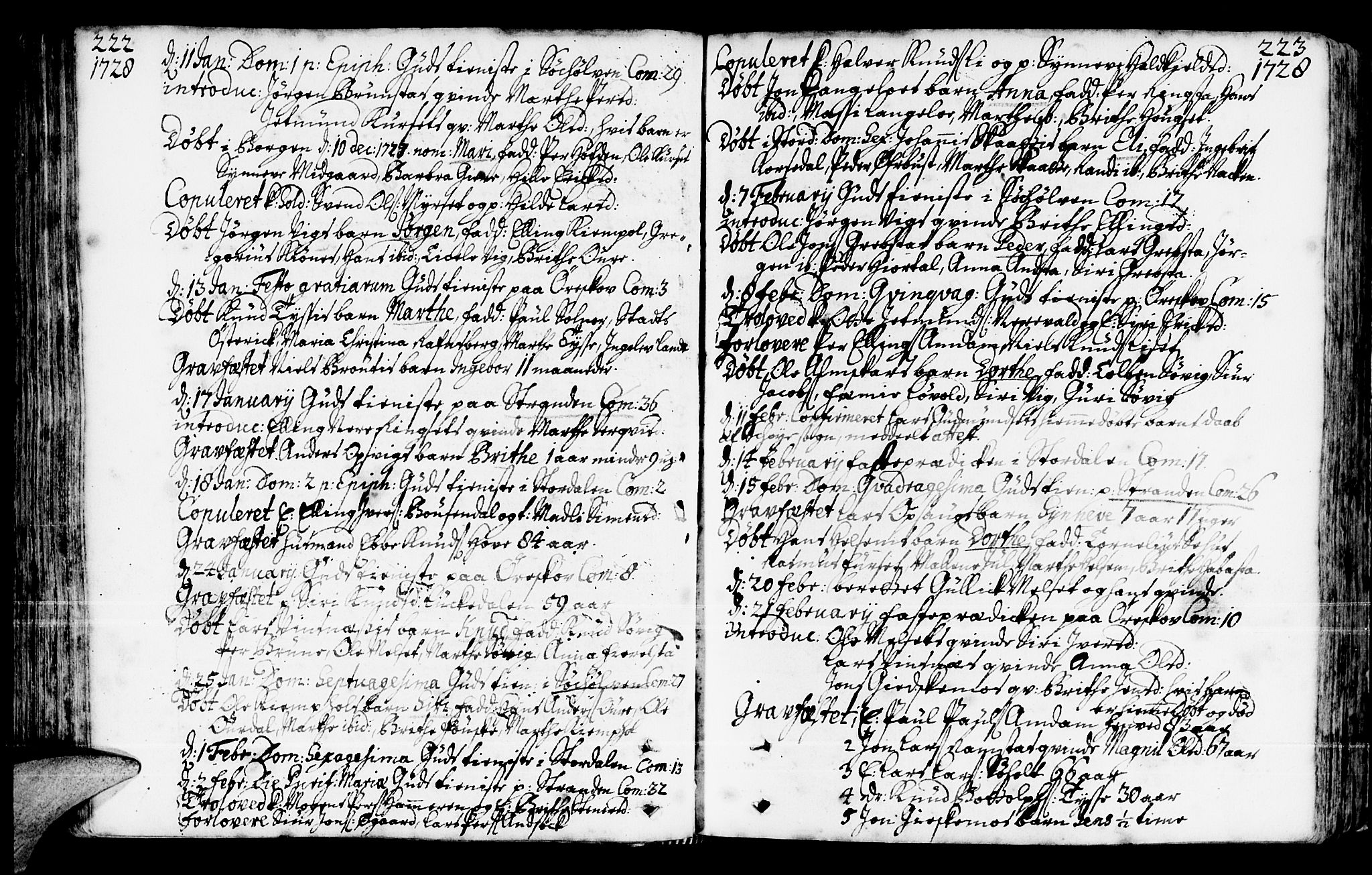 SAT, Ministerialprotokoller, klokkerbøker og fødselsregistre - Møre og Romsdal, 522/L0306: Ministerialbok nr. 522A01, 1720-1743, s. 222-223