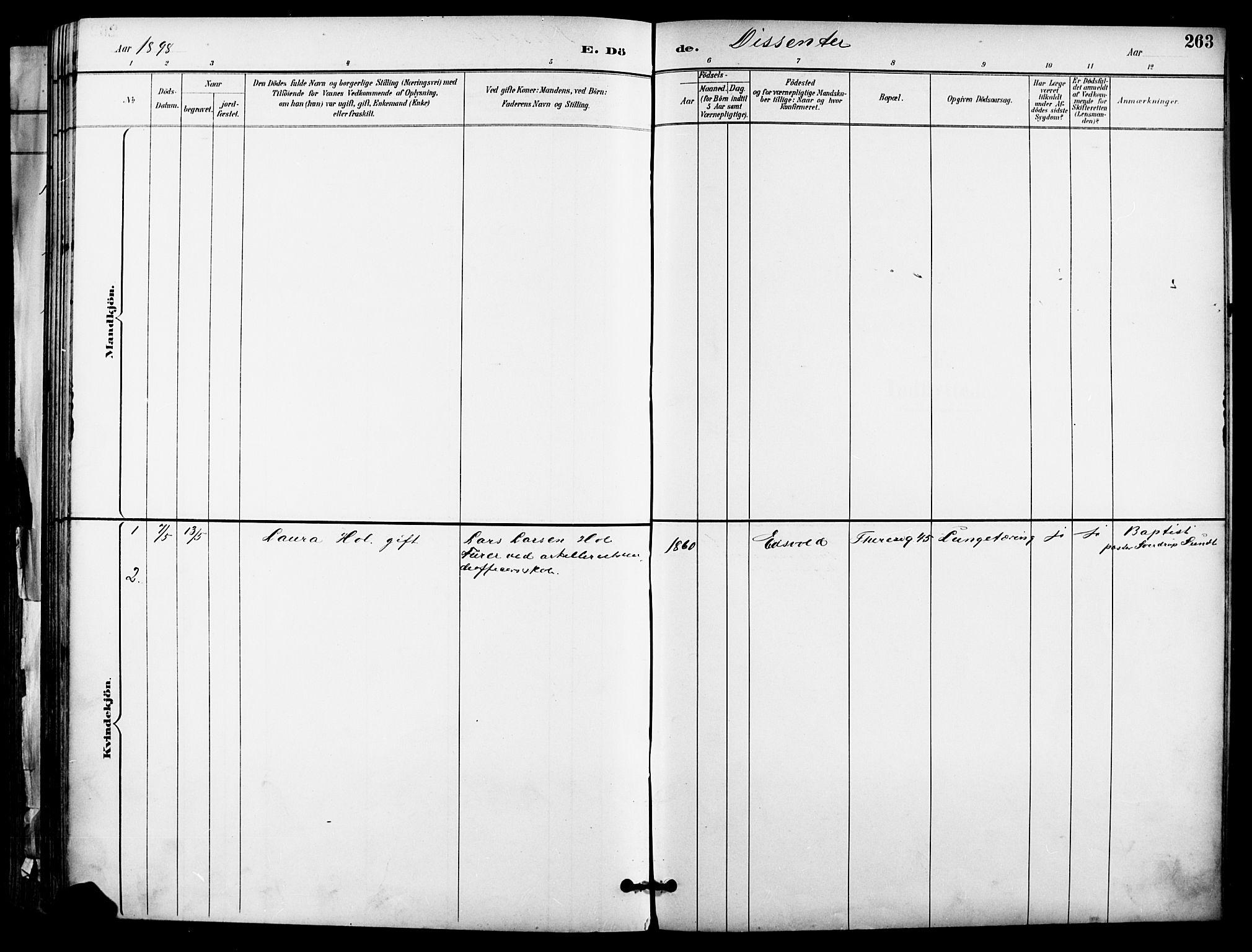SAO, Garnisonsmenigheten Kirkebøker, F/Fa/L0013: Ministerialbok nr. 13, 1894-1904, s. 263