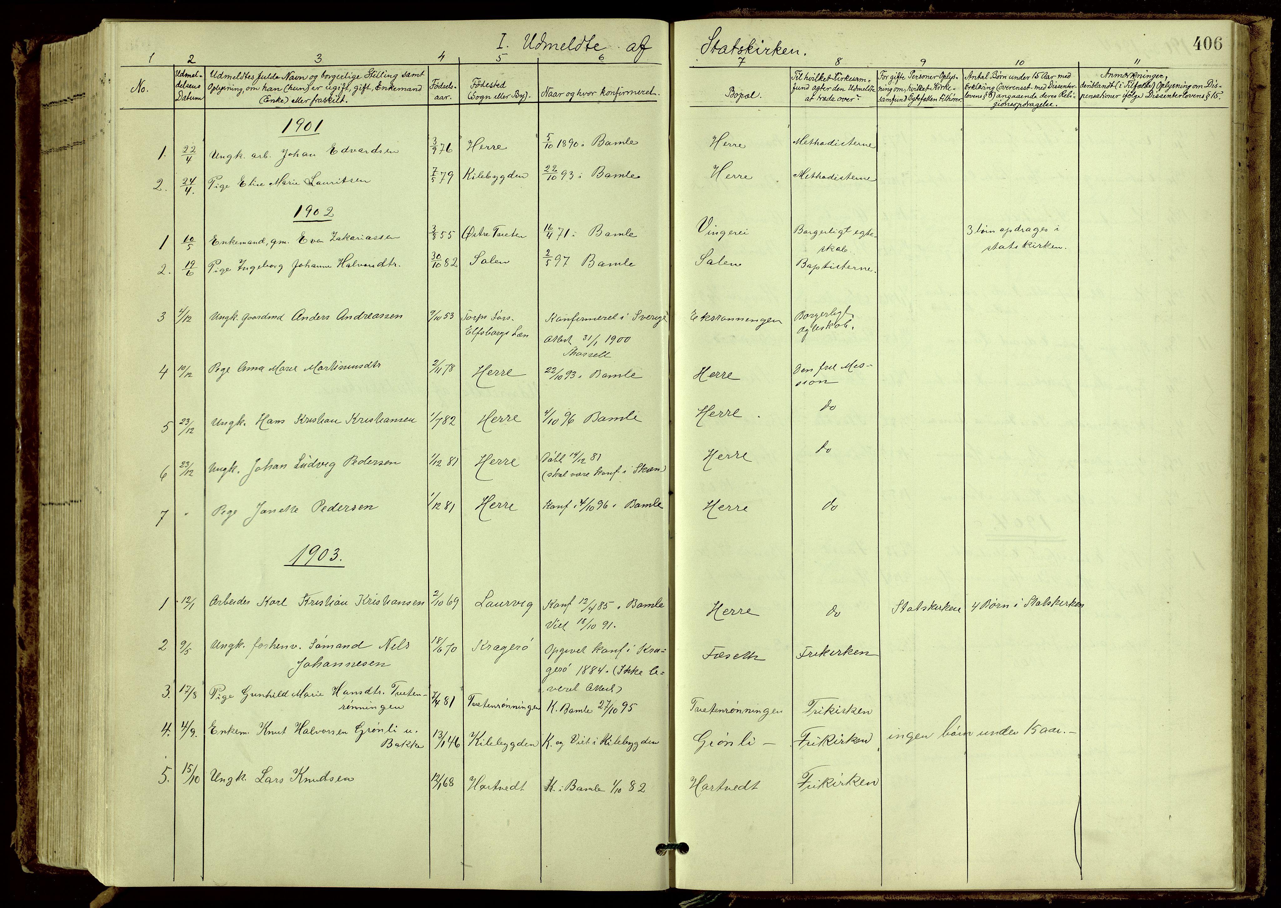 SAKO, Bamble kirkebøker, G/Ga/L0010: Klokkerbok nr. I 10, 1901-1919, s. 406