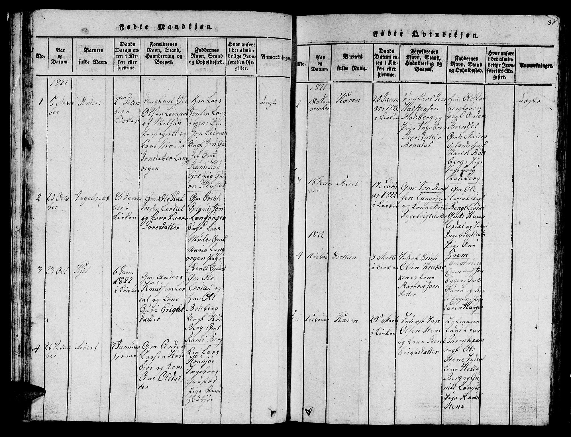 SAT, Ministerialprotokoller, klokkerbøker og fødselsregistre - Sør-Trøndelag, 612/L0385: Klokkerbok nr. 612C01, 1816-1845, s. 35