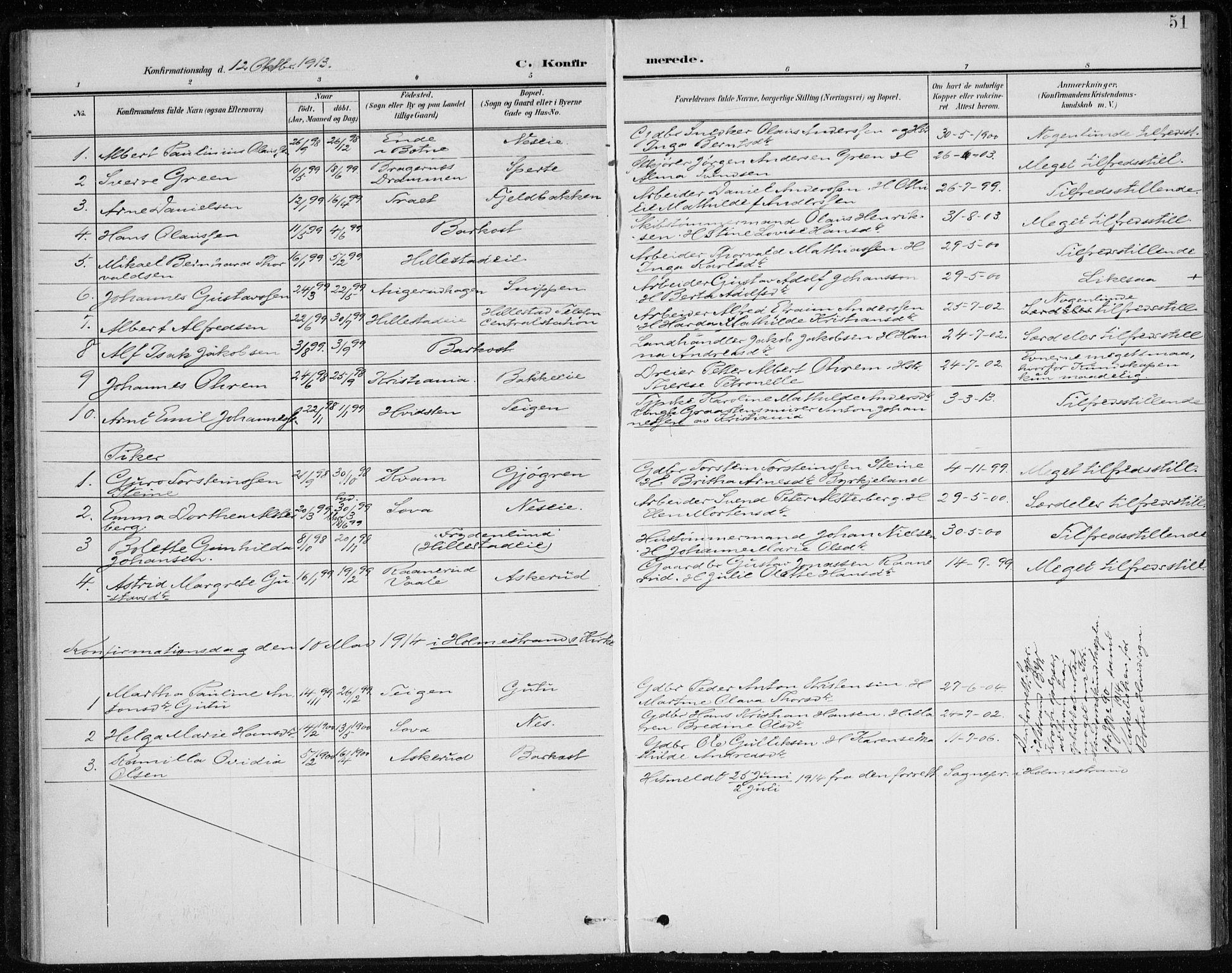 SAKO, Botne kirkebøker, F/Fb/L0002: Ministerialbok nr. II 2, 1902-1915, s. 51