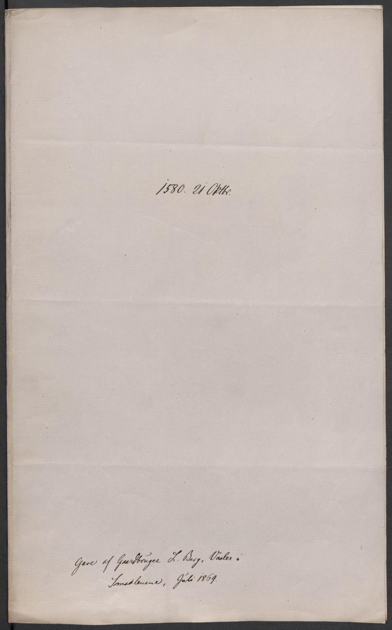 RA, Riksarkivets diplomsamling, F02/L0082: Dokumenter, 1580, s. 49