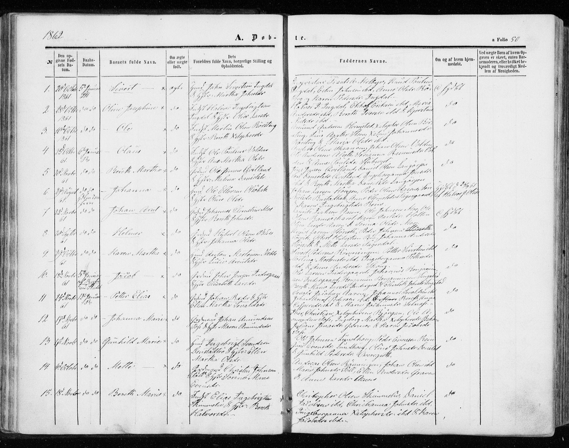 SAT, Ministerialprotokoller, klokkerbøker og fødselsregistre - Sør-Trøndelag, 646/L0612: Ministerialbok nr. 646A10, 1858-1869, s. 50