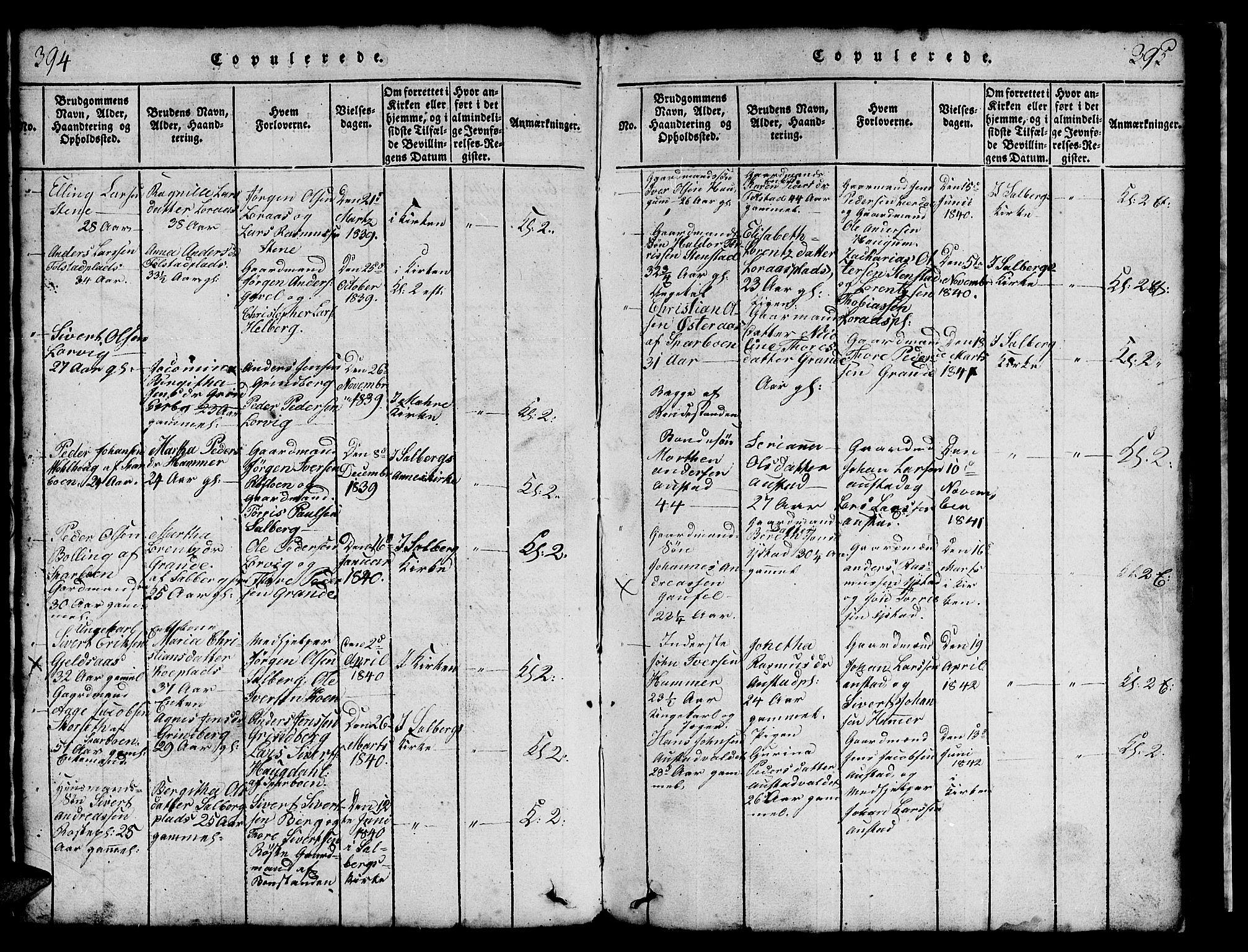 SAT, Ministerialprotokoller, klokkerbøker og fødselsregistre - Nord-Trøndelag, 731/L0310: Klokkerbok nr. 731C01, 1816-1874, s. 394-395