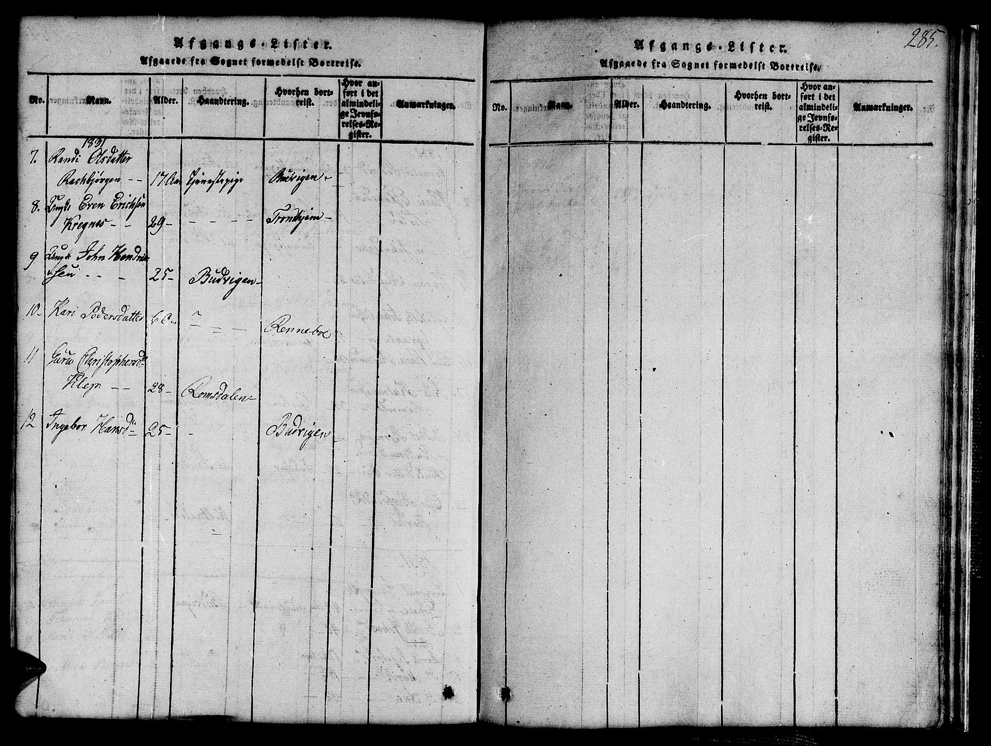 SAT, Ministerialprotokoller, klokkerbøker og fødselsregistre - Sør-Trøndelag, 691/L1092: Klokkerbok nr. 691C03, 1816-1852, s. 285