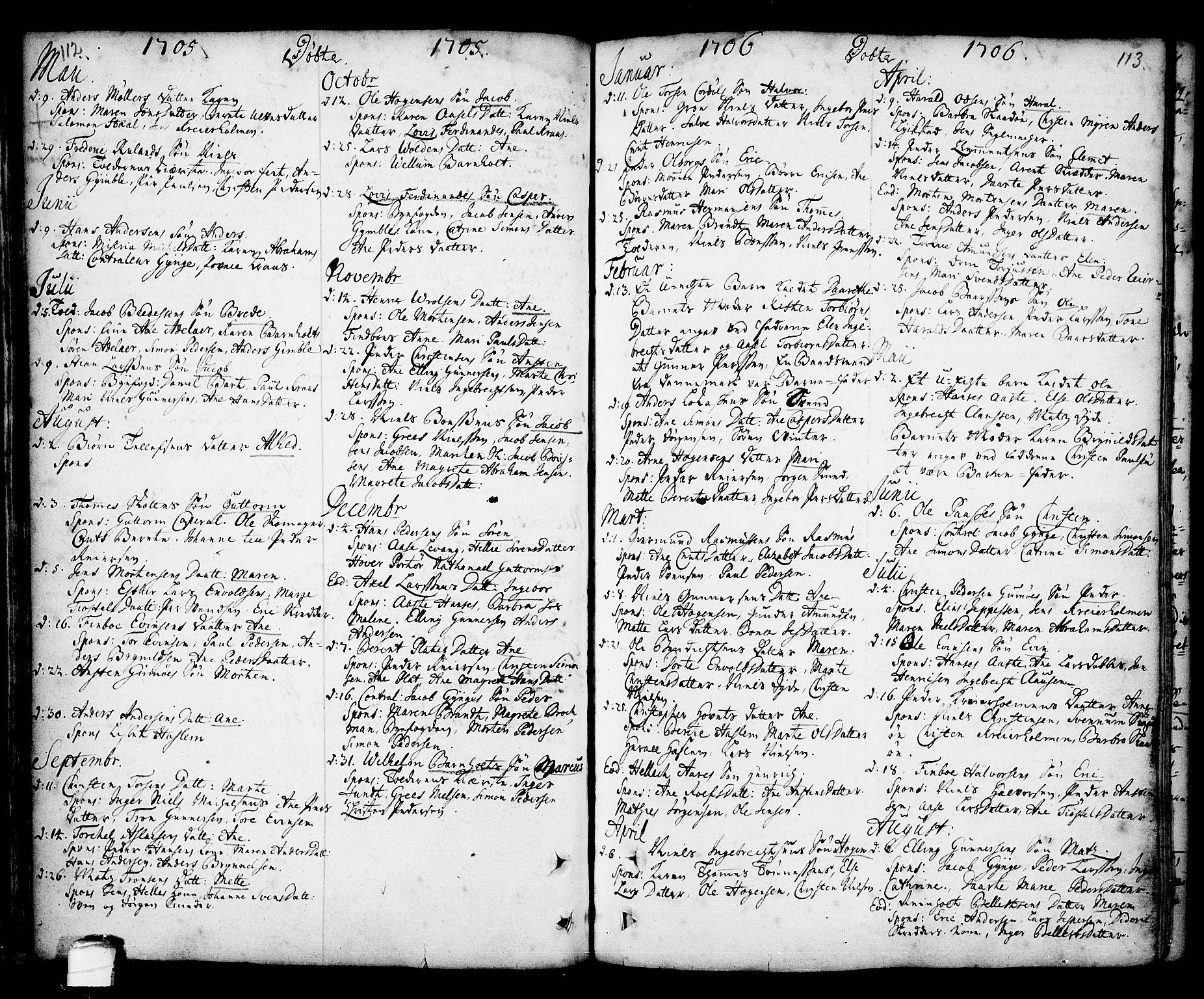 SAKO, Kragerø kirkebøker, F/Fa/L0001: Ministerialbok nr. 1, 1702-1766, s. 112-113