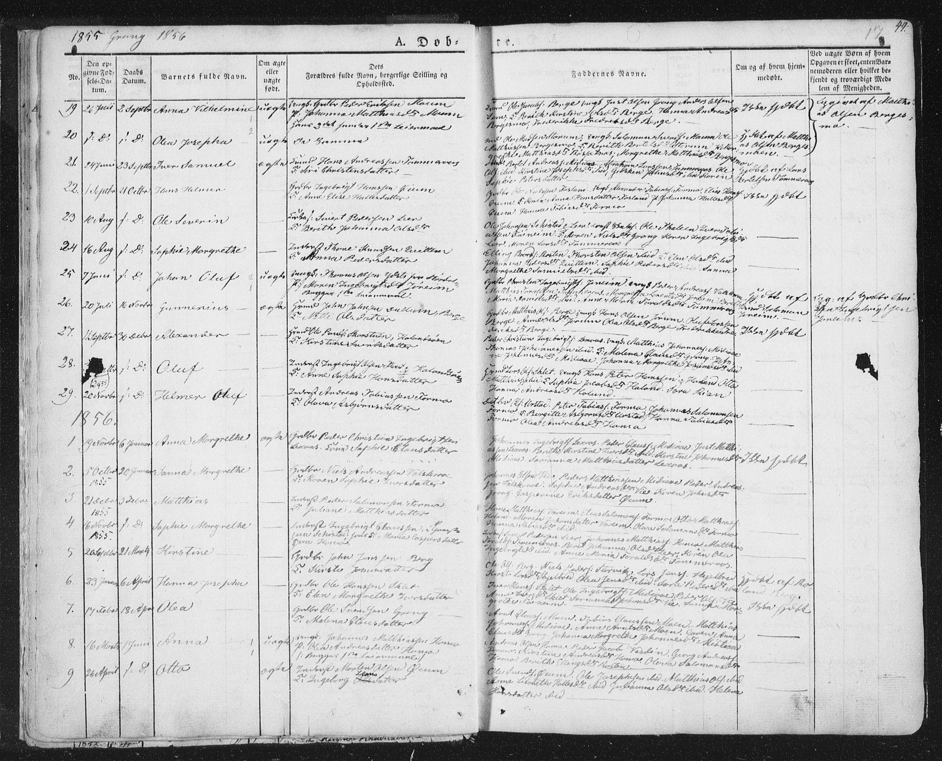 SAT, Ministerialprotokoller, klokkerbøker og fødselsregistre - Nord-Trøndelag, 758/L0513: Ministerialbok nr. 758A02 /1, 1839-1868, s. 17