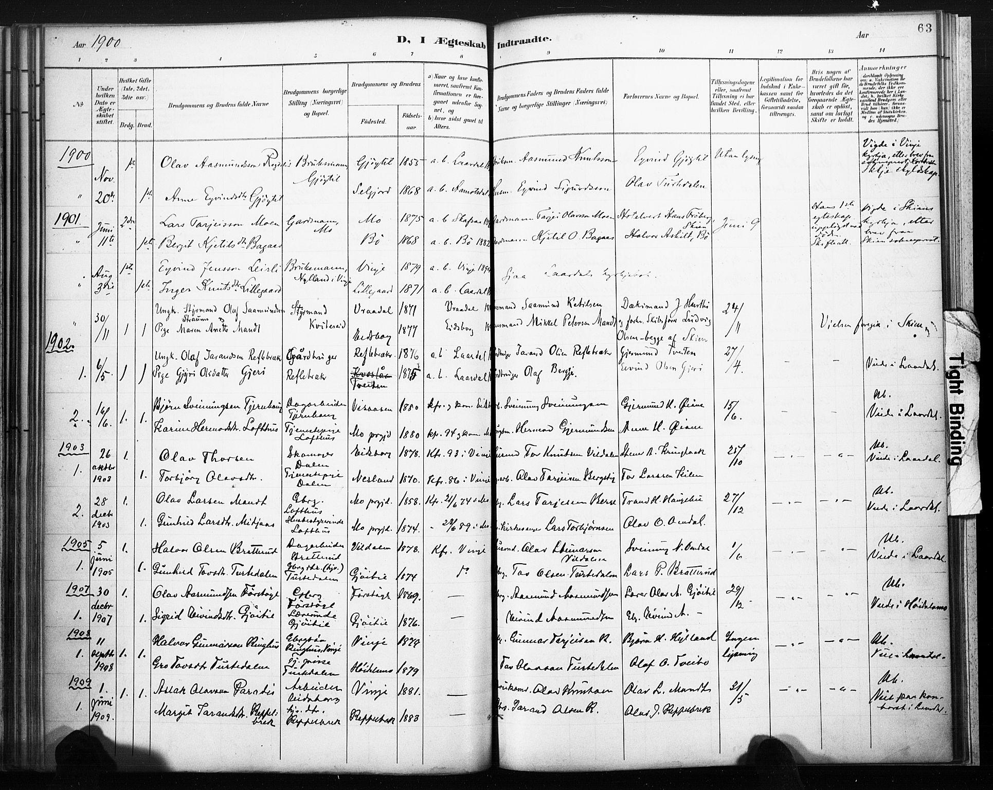 SAKO, Lårdal kirkebøker, F/Fb/L0002: Ministerialbok nr. II 2, 1887-1918, s. 63