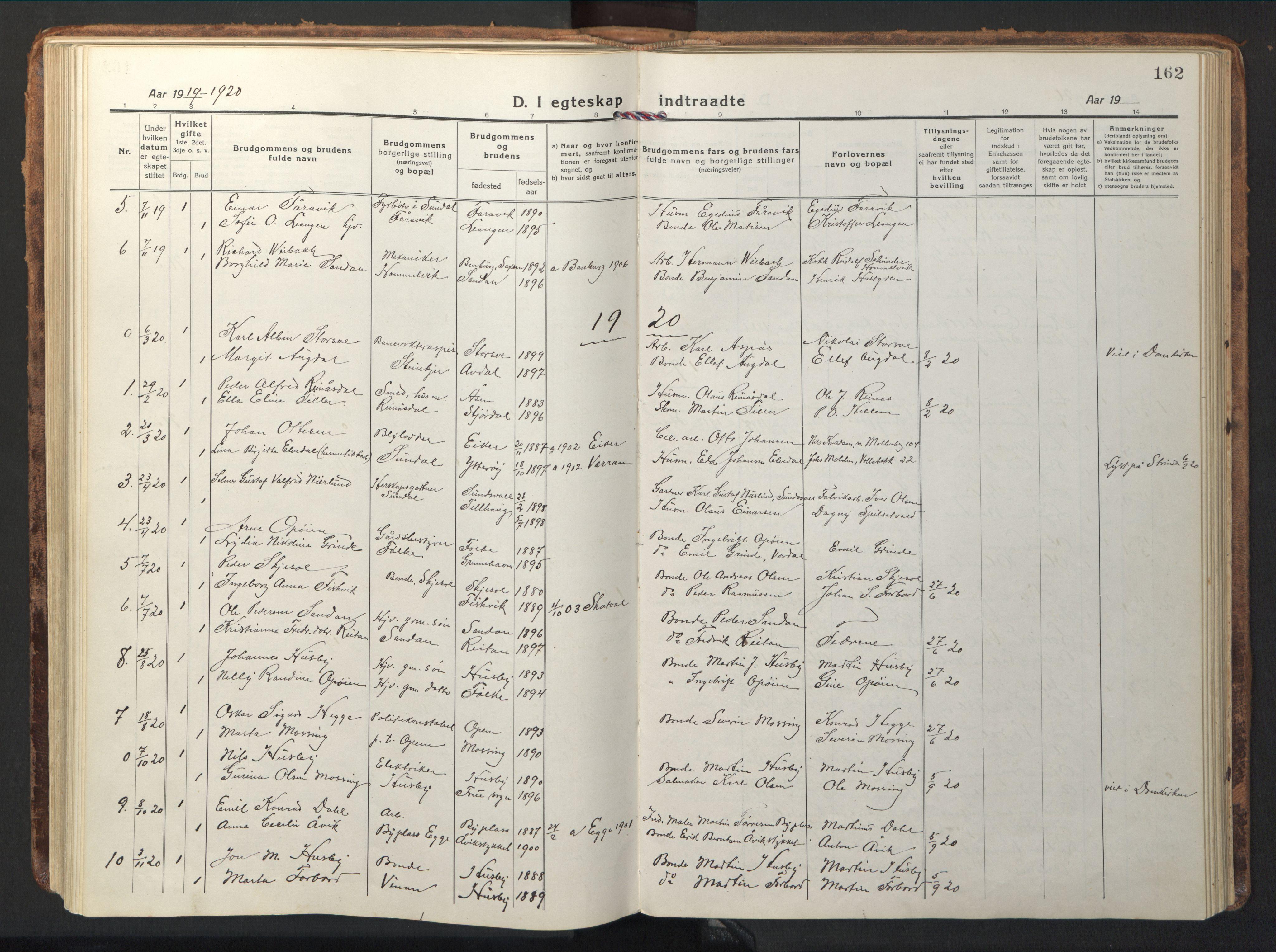 SAT, Ministerialprotokoller, klokkerbøker og fødselsregistre - Nord-Trøndelag, 714/L0136: Klokkerbok nr. 714C05, 1918-1957, s. 162