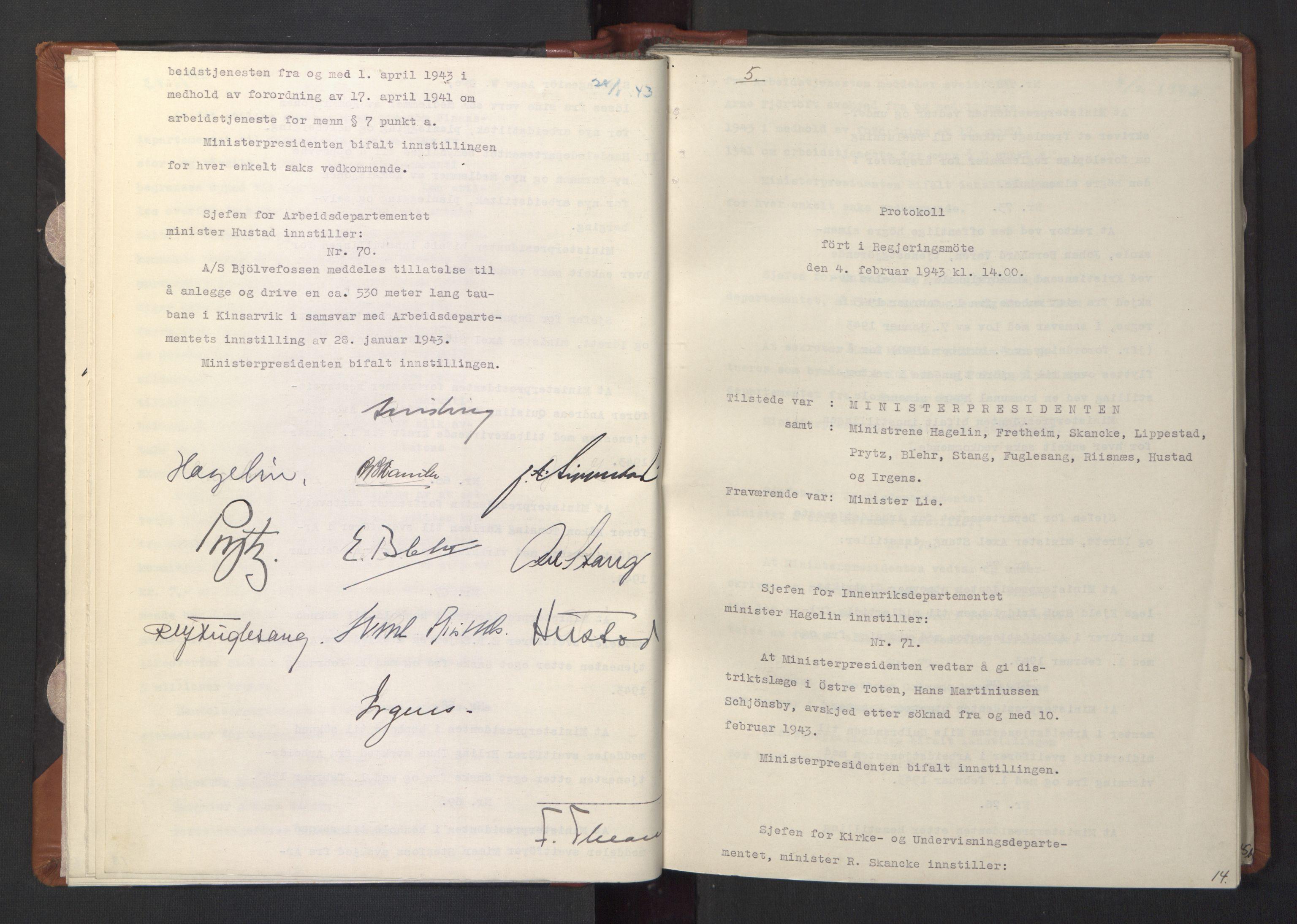 RA, NS-administrasjonen 1940-1945 (Statsrådsekretariatet, de kommisariske statsråder mm), D/Da/L0003: Vedtak (Beslutninger) nr. 1-746 og tillegg nr. 1-47 (RA. j.nr. 1394/1944, tilgangsnr. 8/1944, 1943, s. 13b-14a