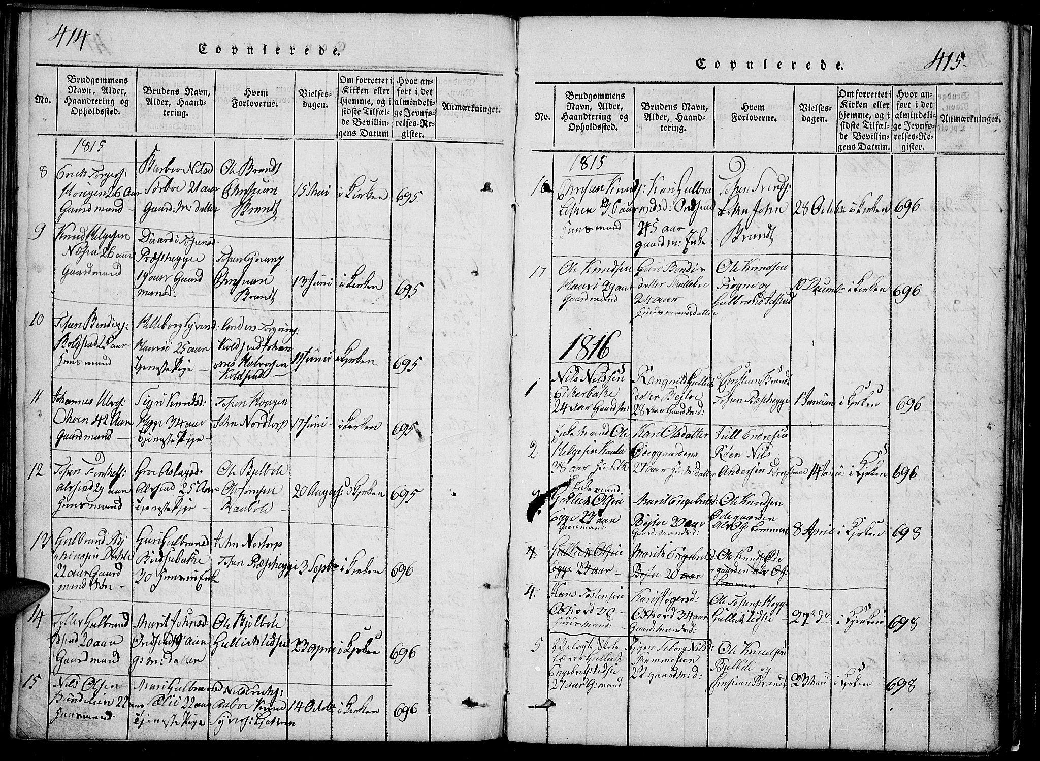 SAH, Slidre prestekontor, Klokkerbok nr. 2, 1814-1839, s. 414-415
