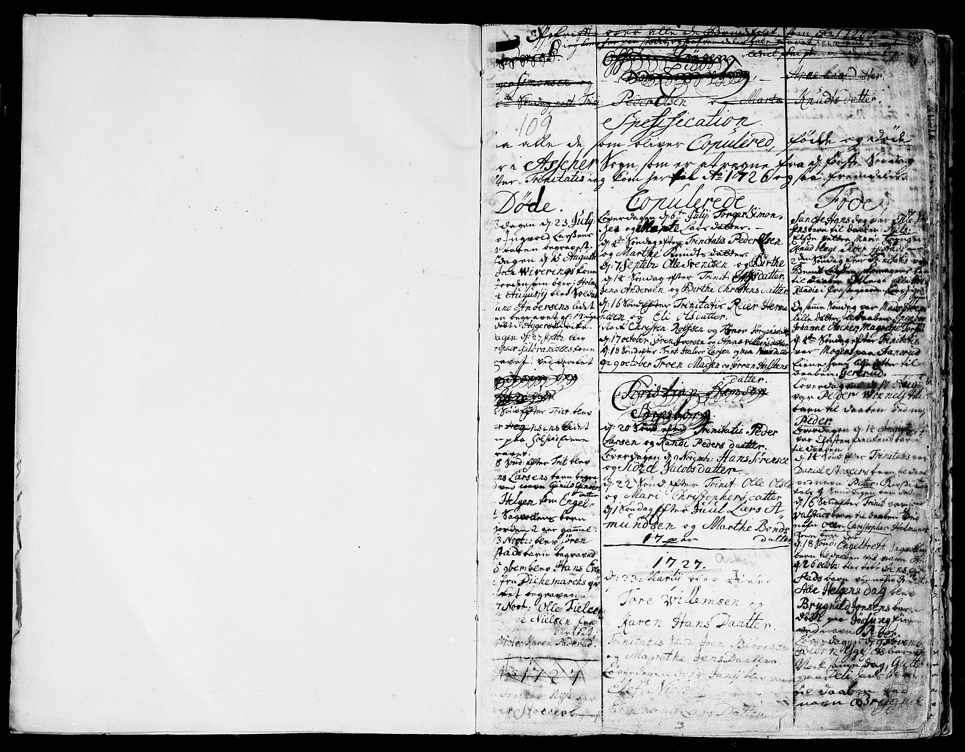 SAO, Asker prestekontor Kirkebøker, F/Fa/L0001: Ministerialbok nr. I 1, 1726-1744, s. 1