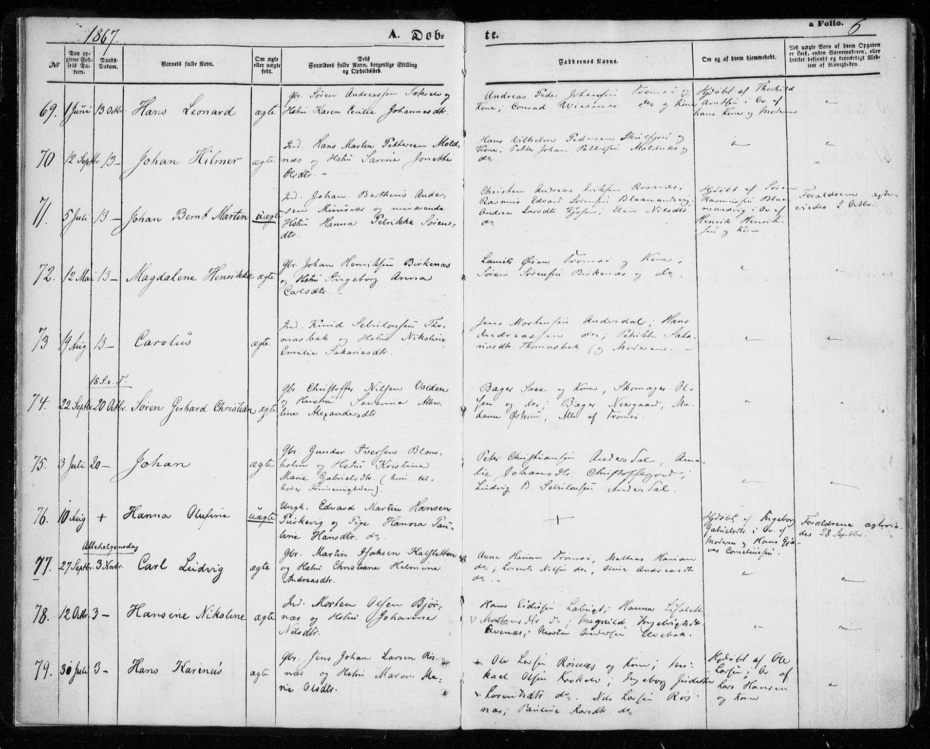 SATØ, Tromsøysund sokneprestkontor, G/Ga/L0002kirke: Ministerialbok nr. 2, 1867-1875, s. 6