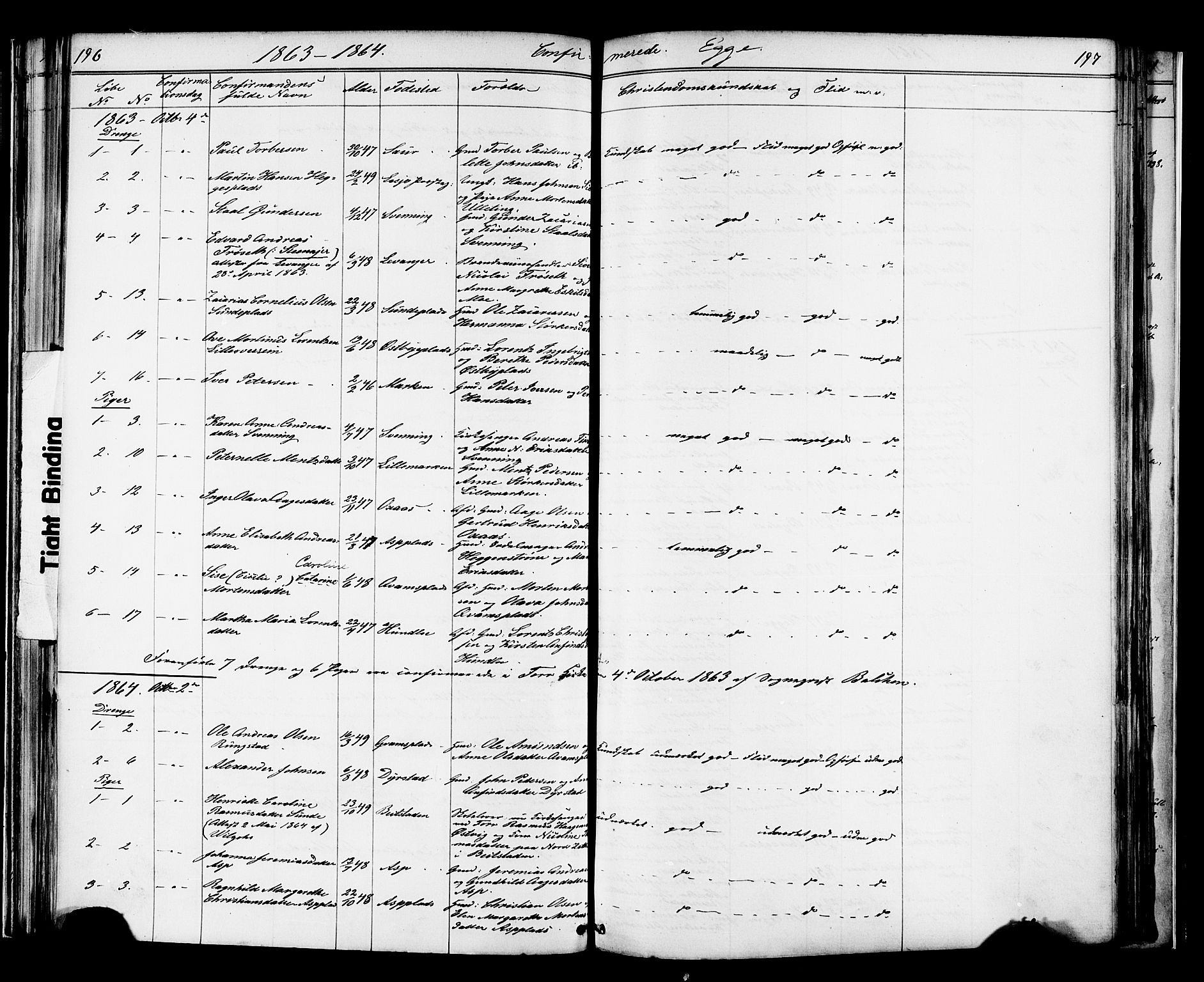 SAT, Ministerialprotokoller, klokkerbøker og fødselsregistre - Nord-Trøndelag, 739/L0367: Ministerialbok nr. 739A01 /3, 1838-1868, s. 196-197