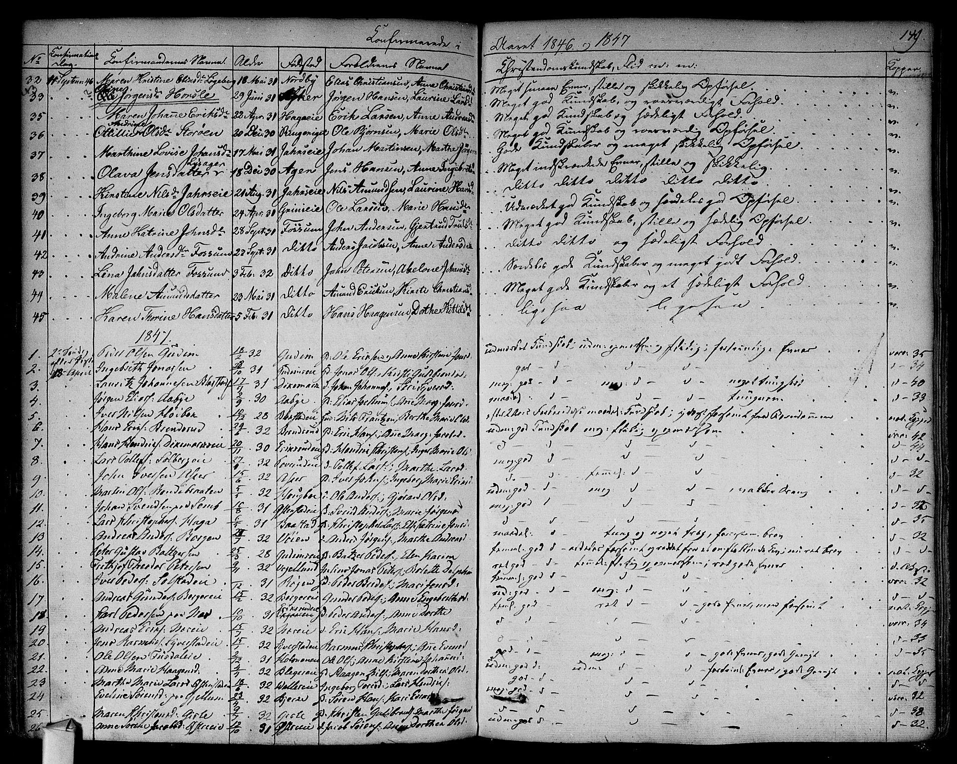 SAO, Asker prestekontor Kirkebøker, F/Fa/L0009: Ministerialbok nr. I 9, 1825-1878, s. 149