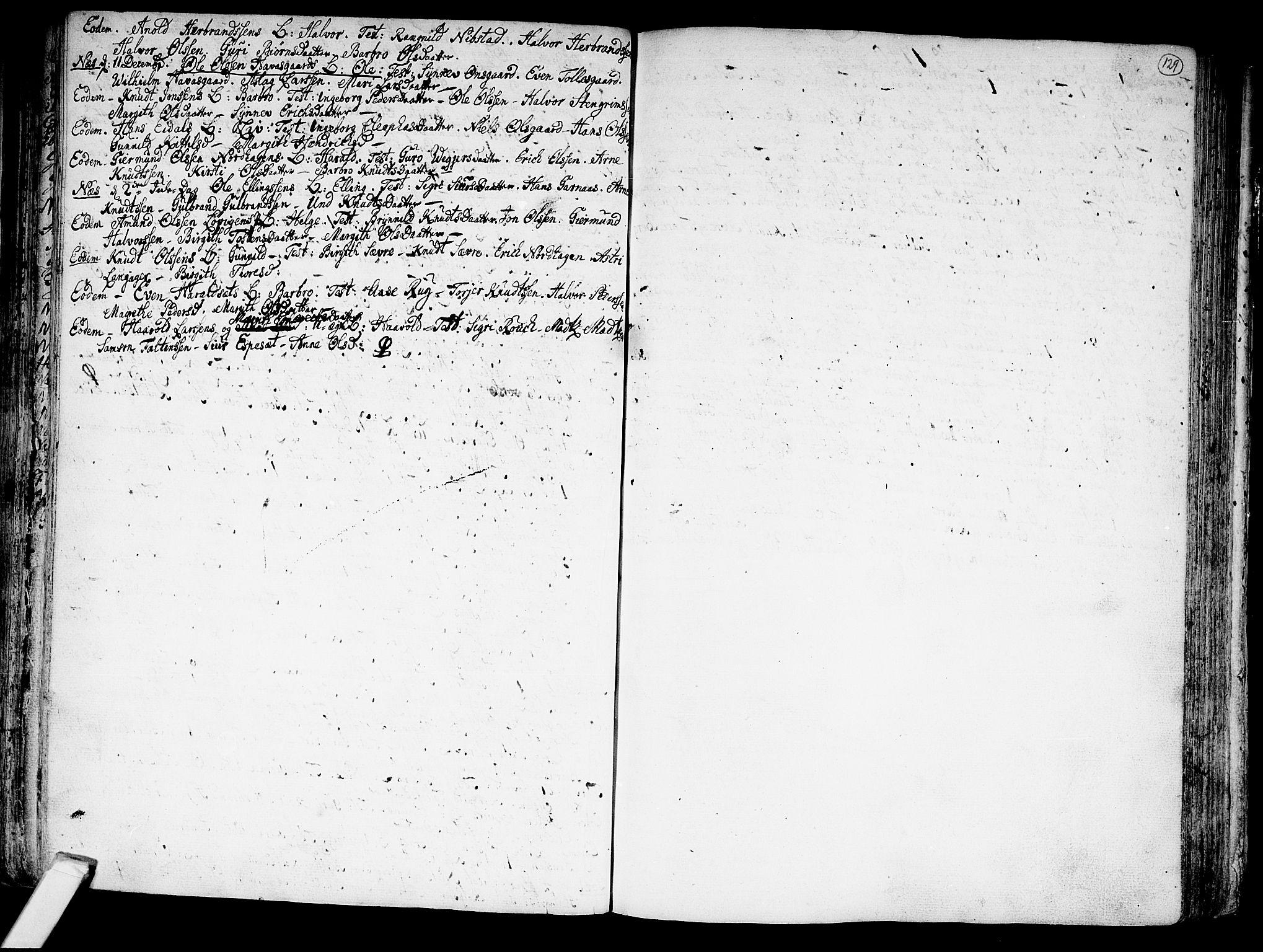 SAKO, Nes kirkebøker, F/Fa/L0002: Ministerialbok nr. 2, 1707-1759, s. 129
