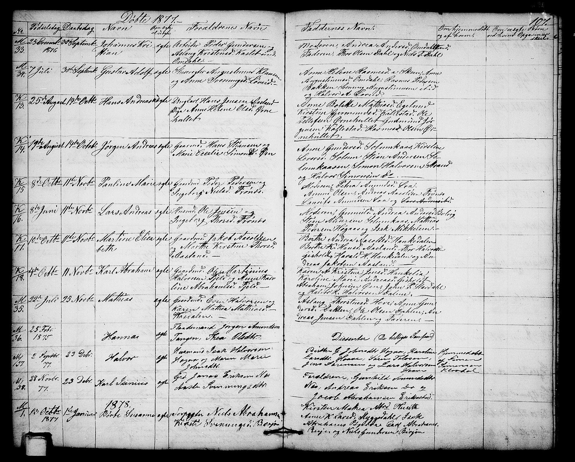 SAKO, Solum kirkebøker, G/Gb/L0002: Klokkerbok nr. II 2, 1859-1879, s. 107