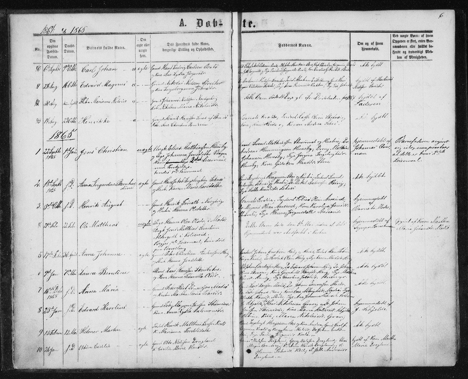 SAT, Ministerialprotokoller, klokkerbøker og fødselsregistre - Nord-Trøndelag, 788/L0696: Ministerialbok nr. 788A03, 1863-1877, s. 6