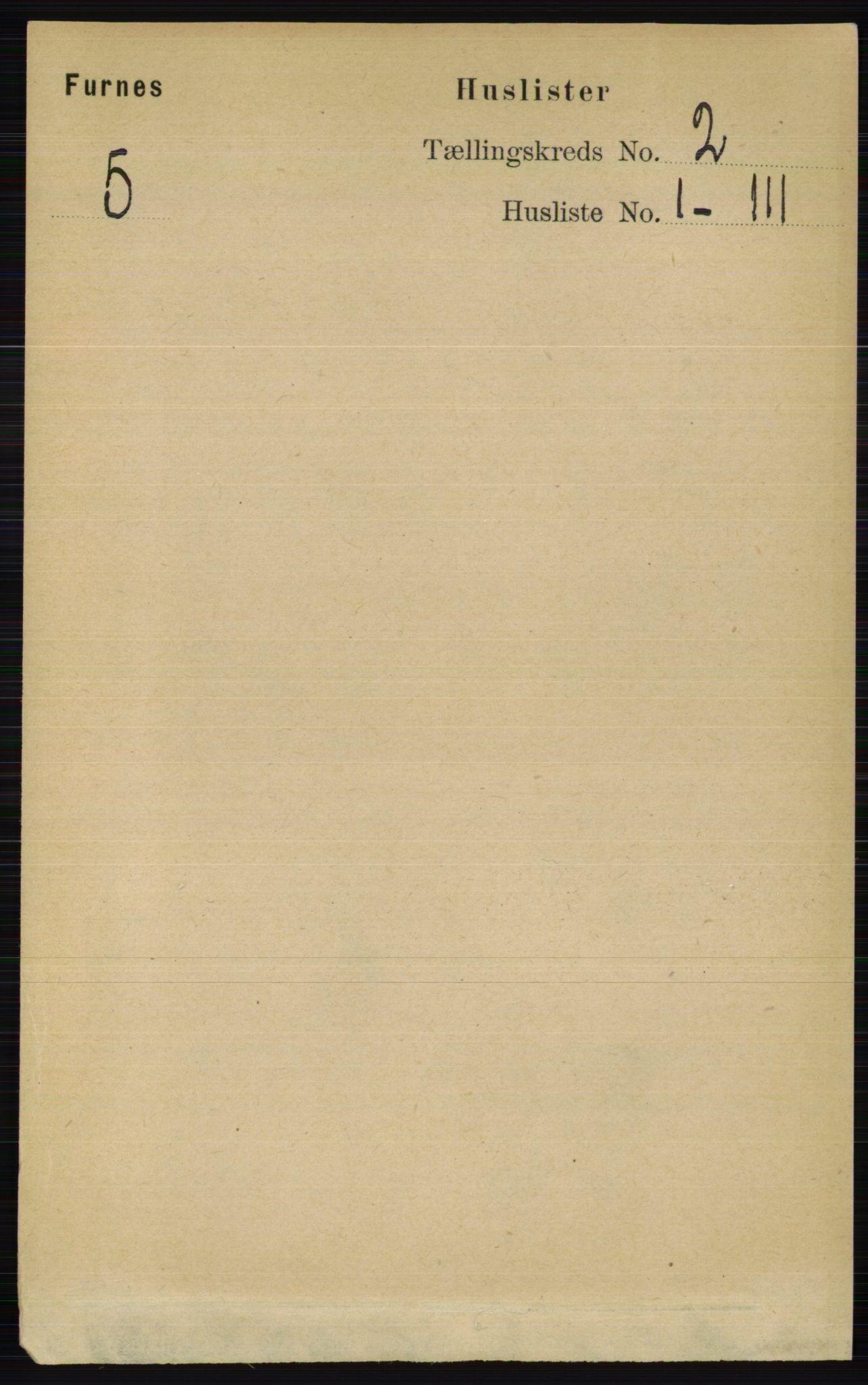 RA, Folketelling 1891 for 0413 Furnes herred, 1891, s. 729