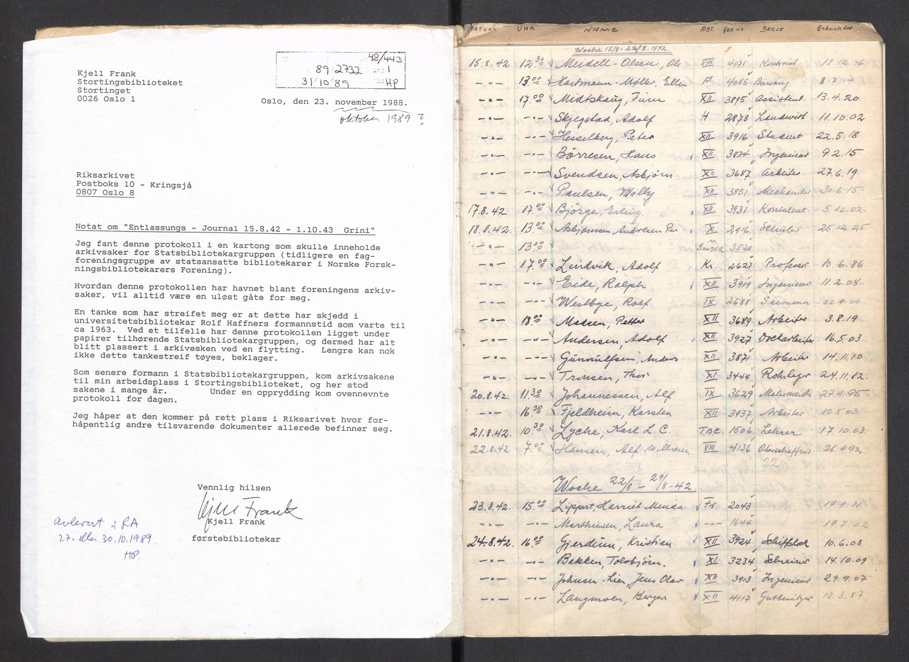 RA, Befehlshaber der Sicherheitspolizei und des SD, F/Fa/Faa/L0016: Frigivelsesjournal (Entlassungsjournal), 1942-1943