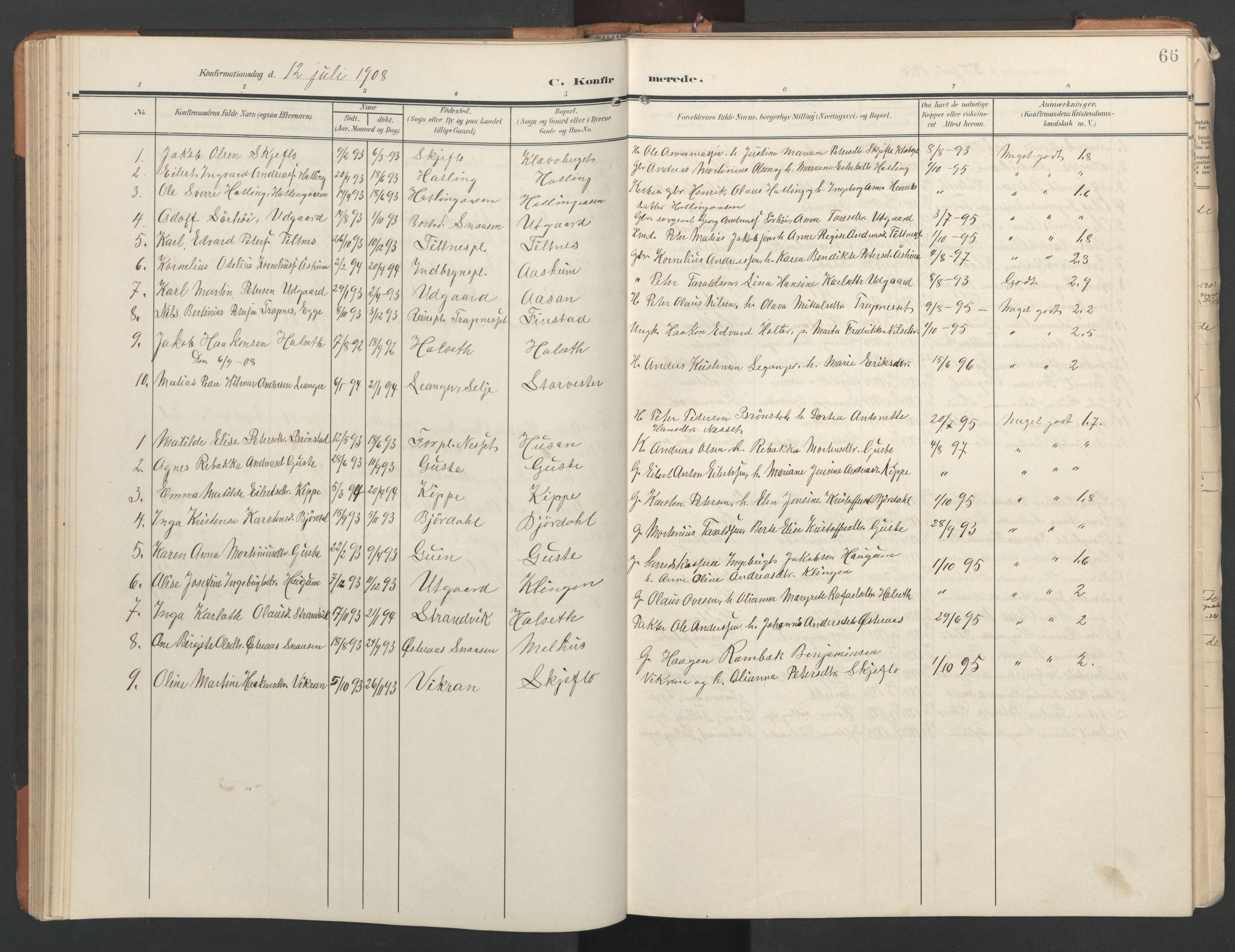 SAT, Ministerialprotokoller, klokkerbøker og fødselsregistre - Nord-Trøndelag, 746/L0455: Klokkerbok nr. 746C01, 1908-1933, s. 66