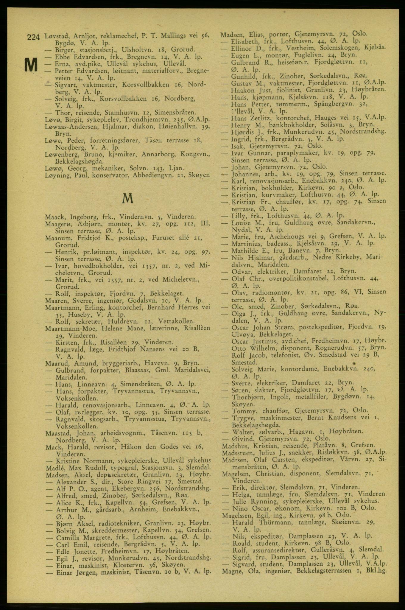 RA, Aker adressebok/adressekalender (publikasjon)*, 1937-1938, s. 224