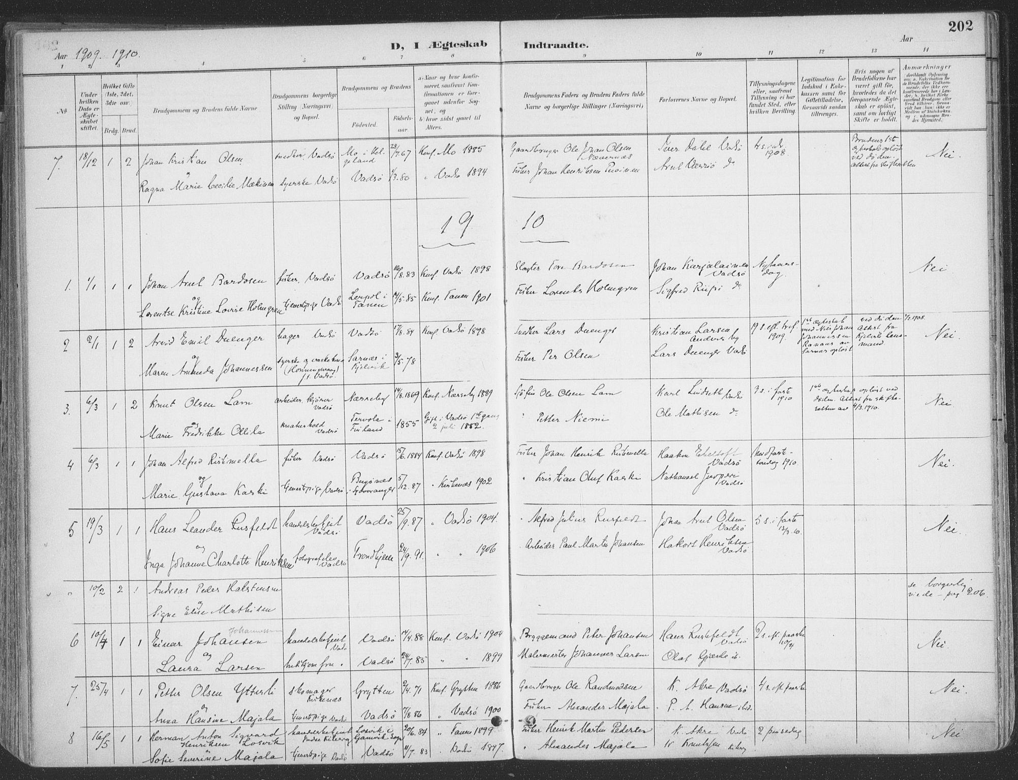 SATØ, Vadsø sokneprestkontor, H/Ha/L0007kirke: Ministerialbok nr. 7, 1896-1916, s. 202