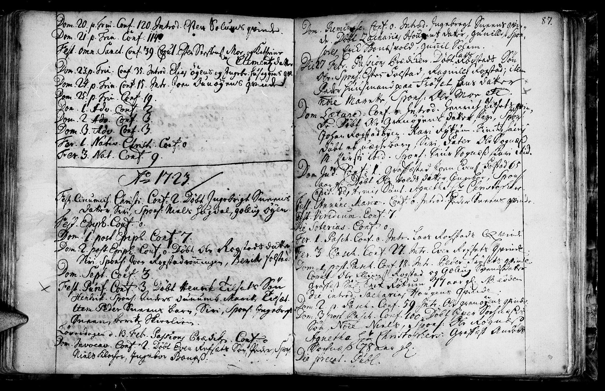 SAT, Ministerialprotokoller, klokkerbøker og fødselsregistre - Sør-Trøndelag, 687/L0990: Ministerialbok nr. 687A01, 1690-1746, s. 87