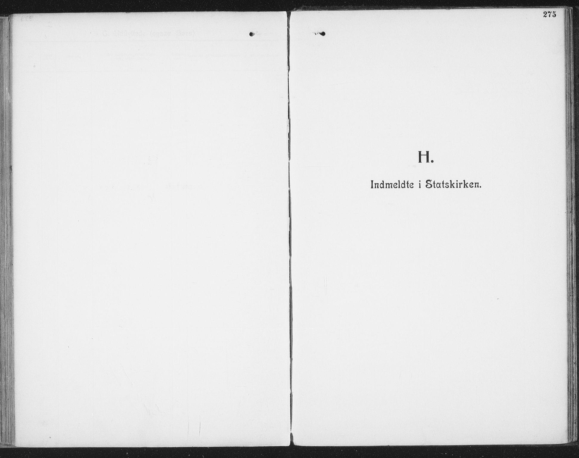 SAT, Ministerialprotokoller, klokkerbøker og fødselsregistre - Nordland, 804/L0081: Ministerialbok nr. 804A02, 1901-1915, s. 275