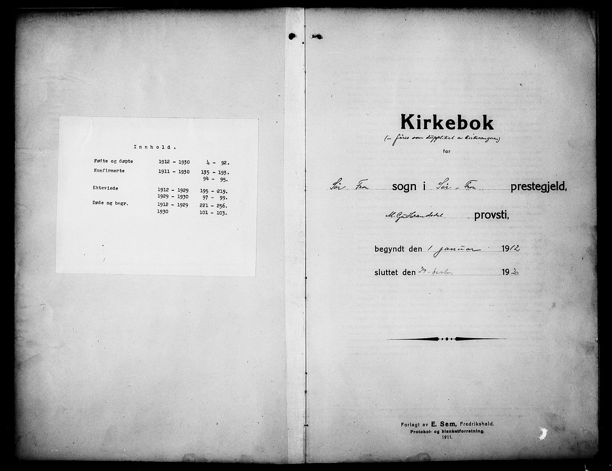 SAH, Sør-Fron prestekontor, H/Ha/Hab/L0005: Klokkerbok nr. 5, 1912-1930, s. 1