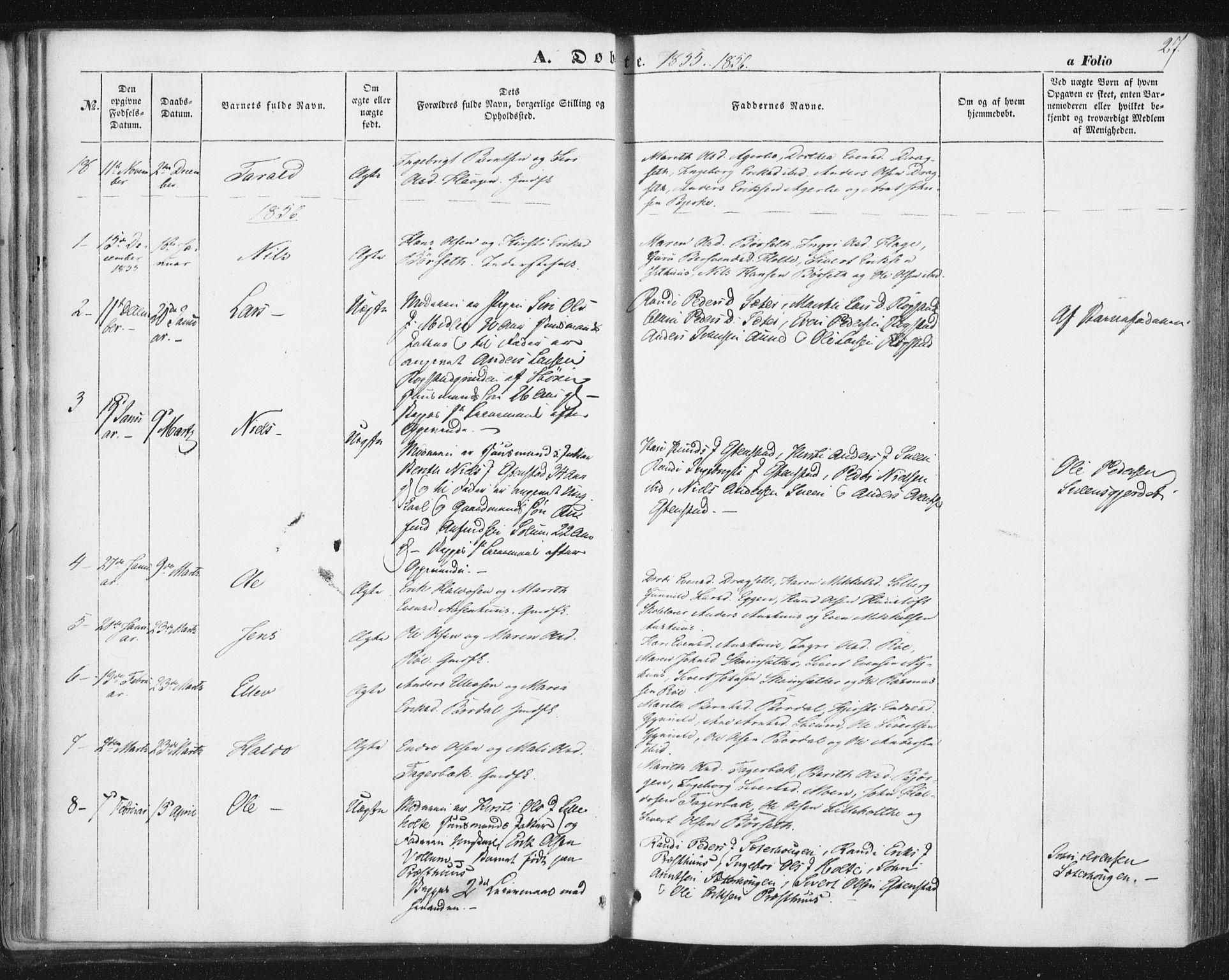SAT, Ministerialprotokoller, klokkerbøker og fødselsregistre - Sør-Trøndelag, 689/L1038: Ministerialbok nr. 689A03, 1848-1872, s. 27