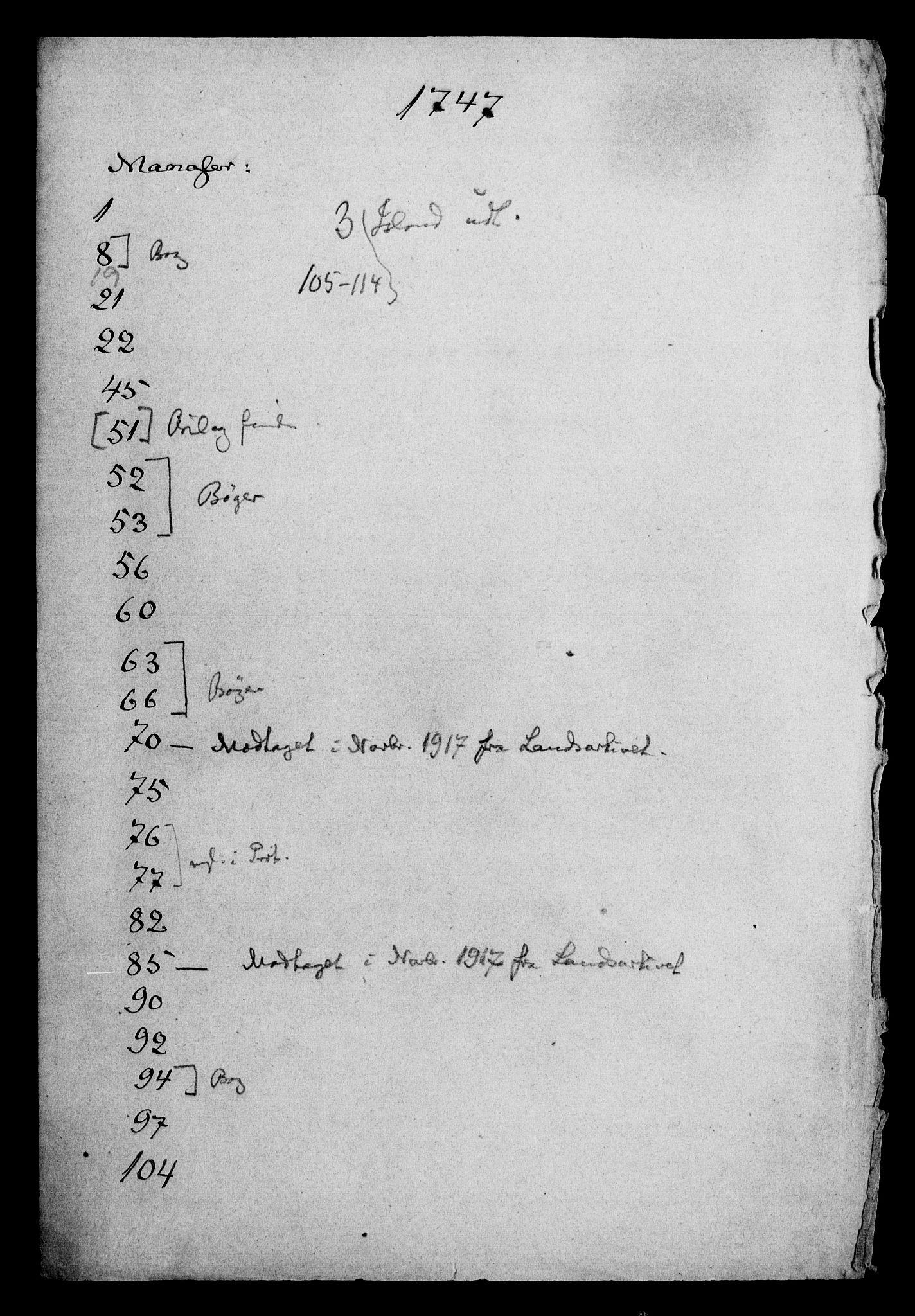 DRA, Generalkirkeinspektionskollegiet, F4-06/F4-06-17: Protokollerede indkomne sager, 1747