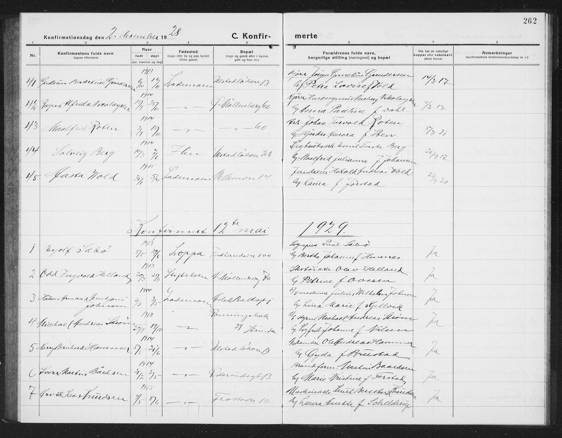 SAT, Ministerialprotokoller, klokkerbøker og fødselsregistre - Sør-Trøndelag, 605/L0258: Klokkerbok nr. 605C05, 1918-1930, s. 262