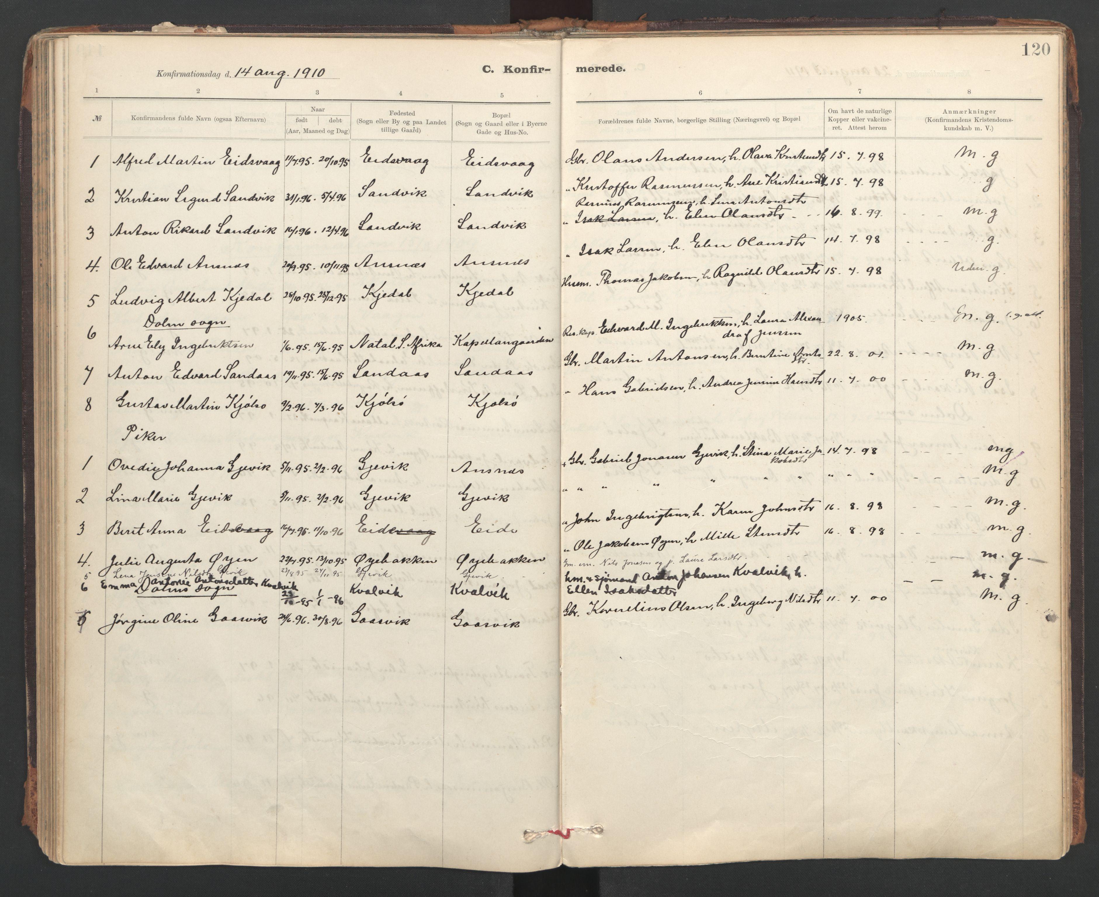 SAT, Ministerialprotokoller, klokkerbøker og fødselsregistre - Sør-Trøndelag, 637/L0559: Ministerialbok nr. 637A02, 1899-1923, s. 120