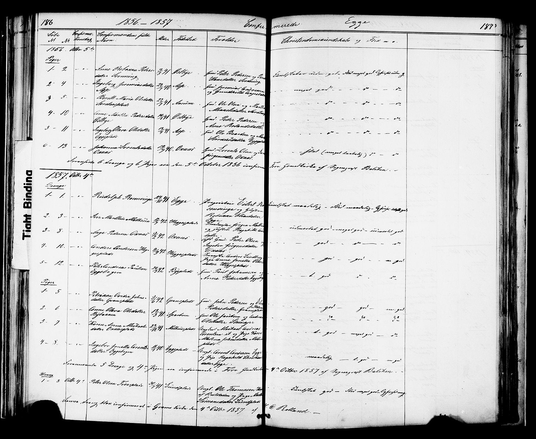 SAT, Ministerialprotokoller, klokkerbøker og fødselsregistre - Nord-Trøndelag, 739/L0367: Ministerialbok nr. 739A01 /3, 1838-1868, s. 186-187
