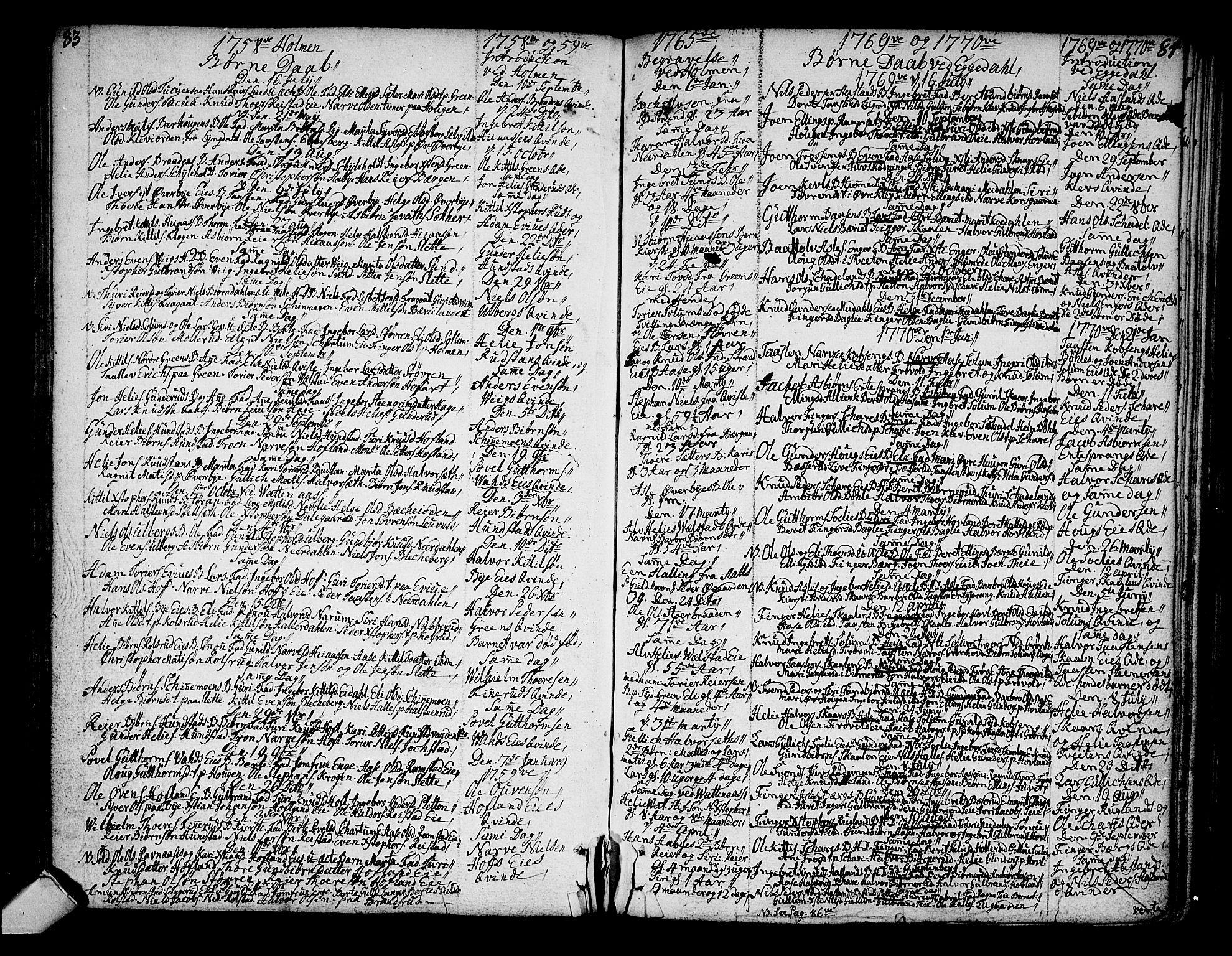 SAKO, Sigdal kirkebøker, F/Fa/L0001: Ministerialbok nr. I 1, 1722-1777, s. 83-84
