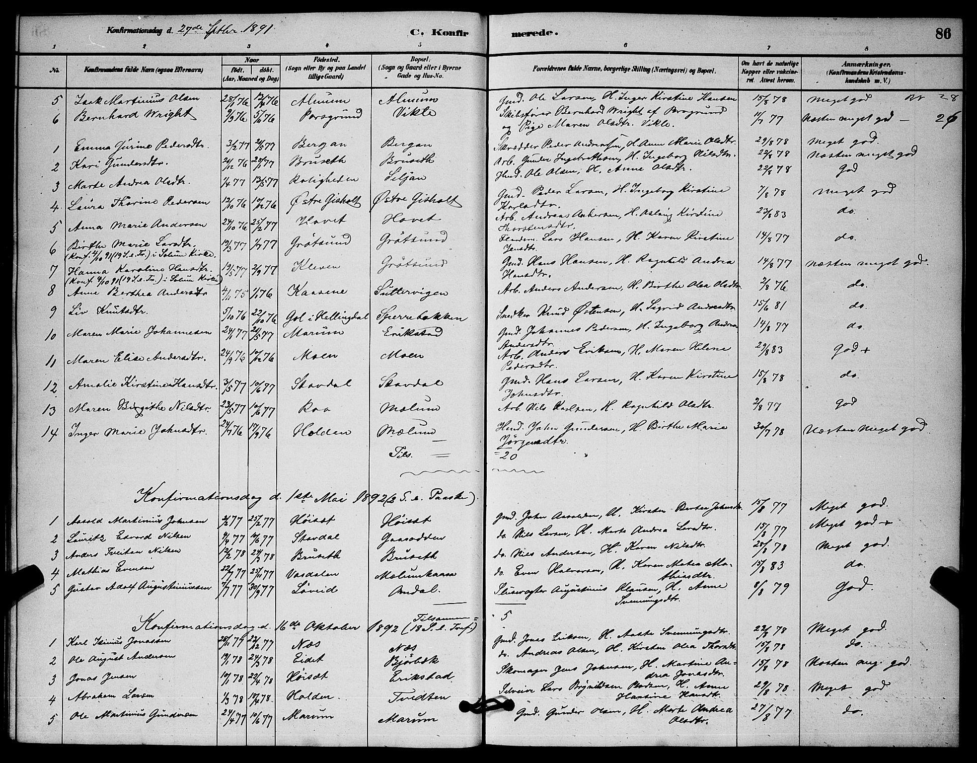 SAKO, Solum kirkebøker, G/Gb/L0003: Klokkerbok nr. II 3, 1880-1898, s. 86